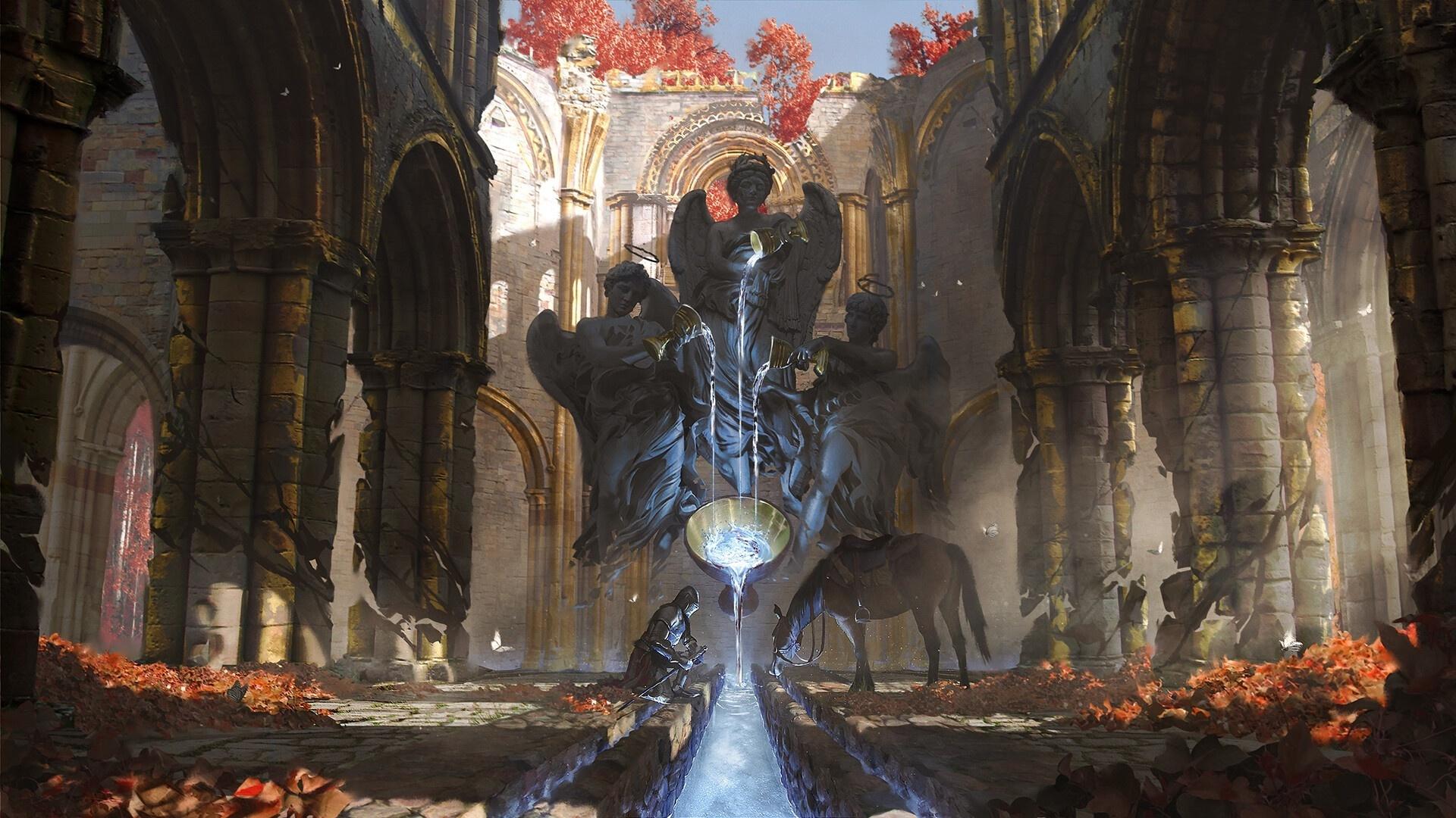 развалины, фонтан, рыцарь, лошадь, статуя,ангелы,живая,вода