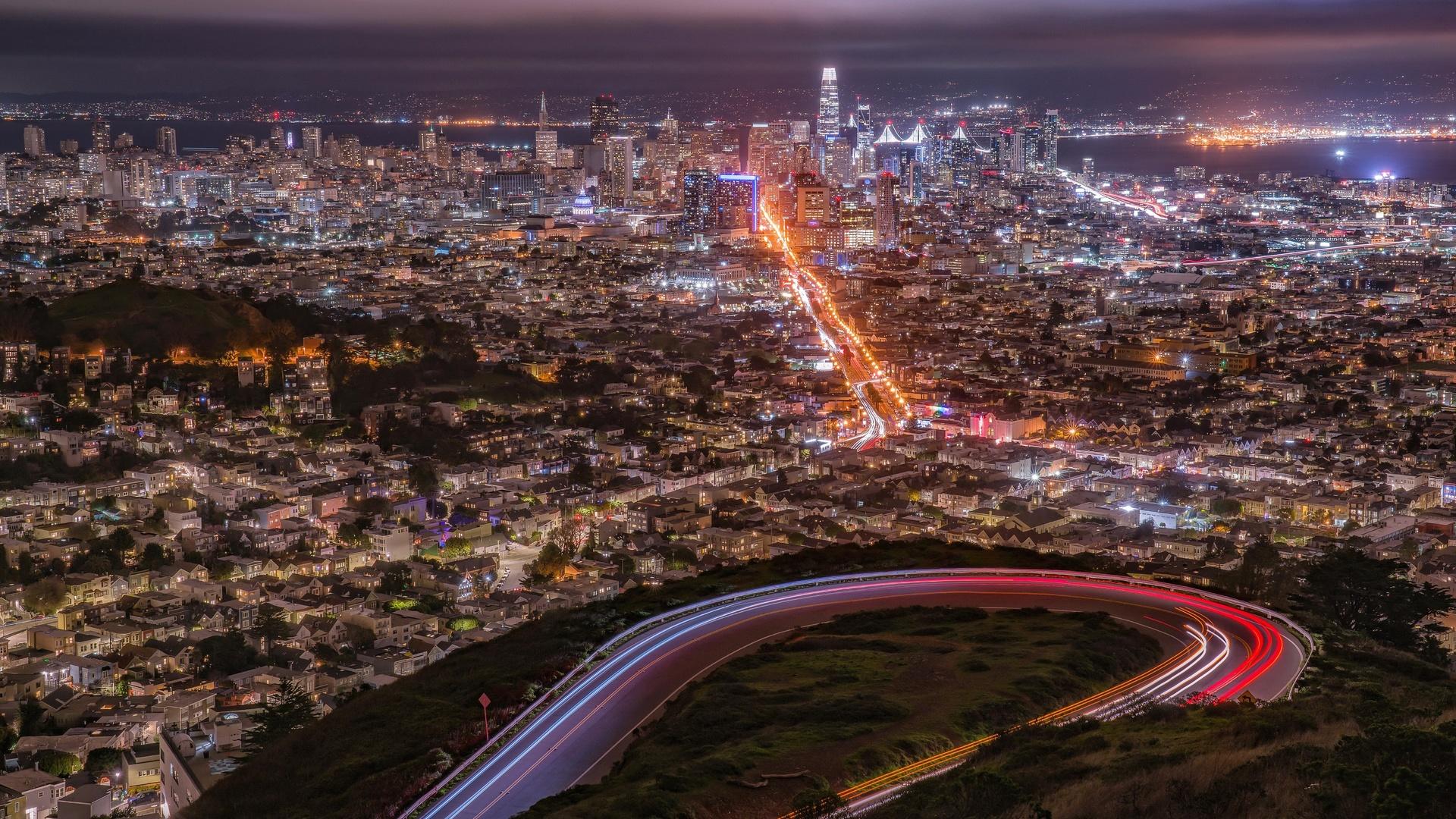 мегаполис, сан-франциско, ночь, сверху, город