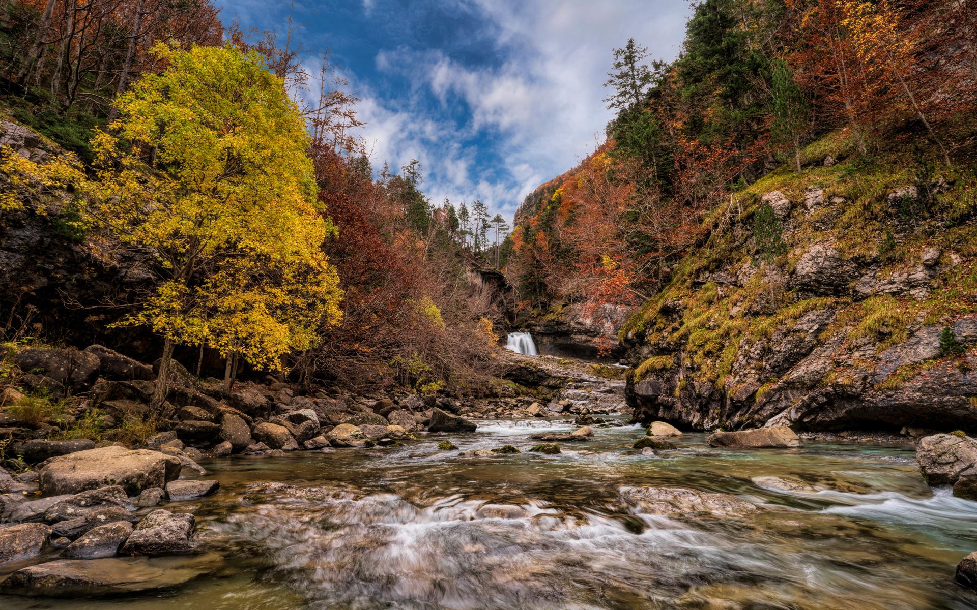 испания, осень, горы, камни, monte perdido, national park, деревья, природа