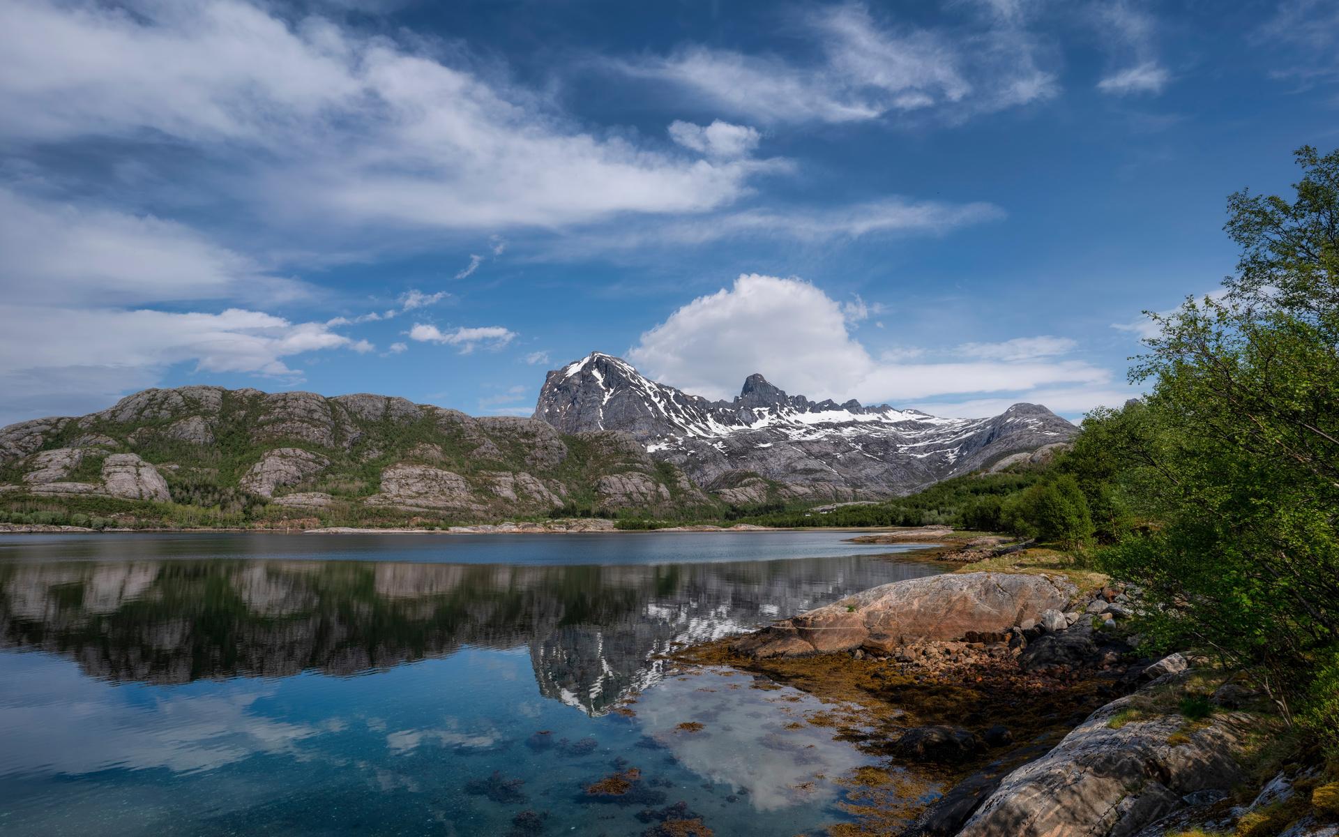 норвегия, горы, небо, jektvik, скала, облака, природа