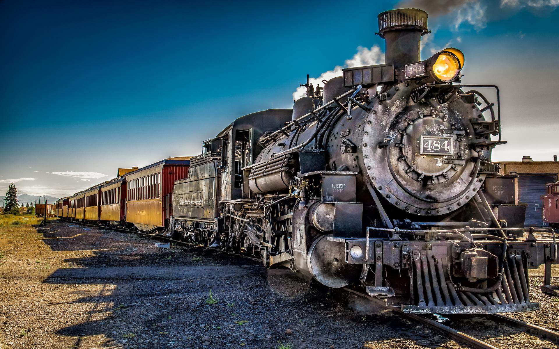 паровоз, поезд, вагоны
