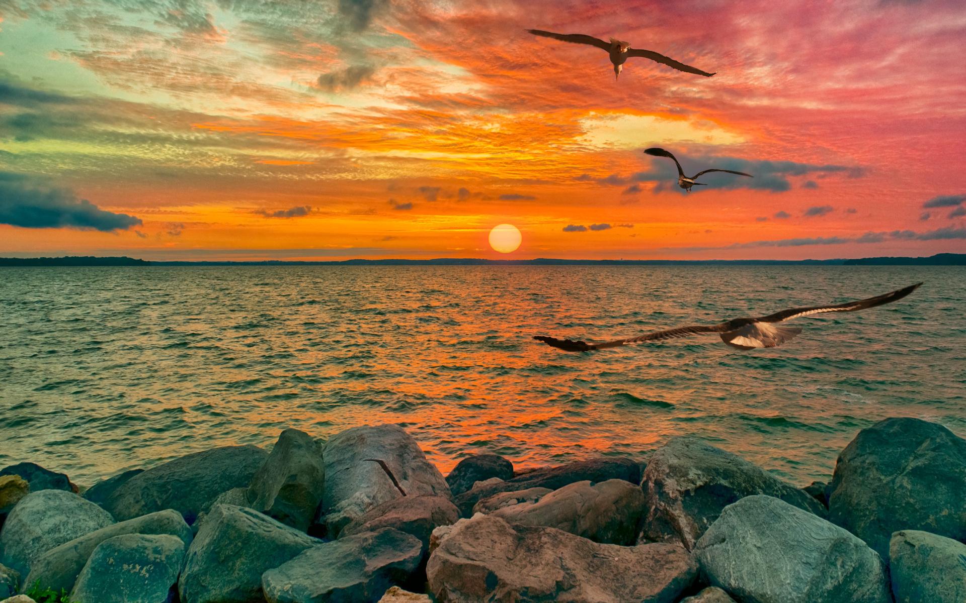 пейзаж, море, небо, берег