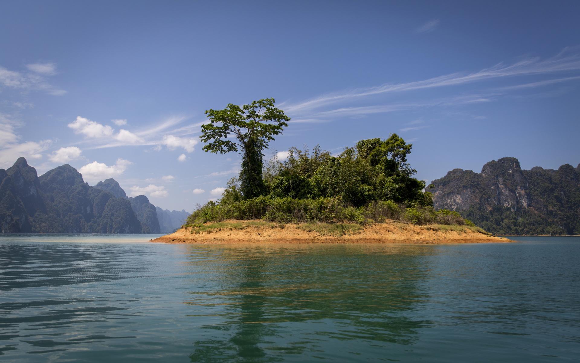 таиланд, озеро, остров, горы, cheow, lan, lake, khao sok, national park, деревья, природа