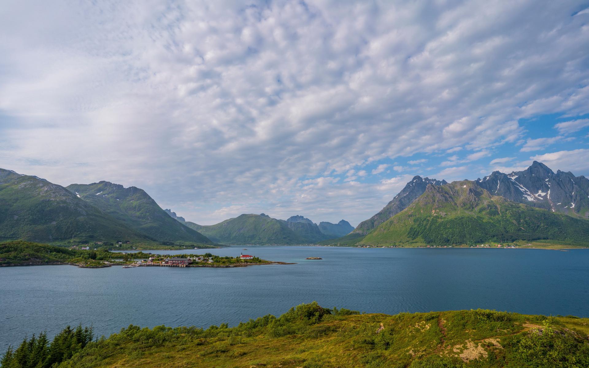 норвегия, лофотенские острова, горы fjord, облака, природа