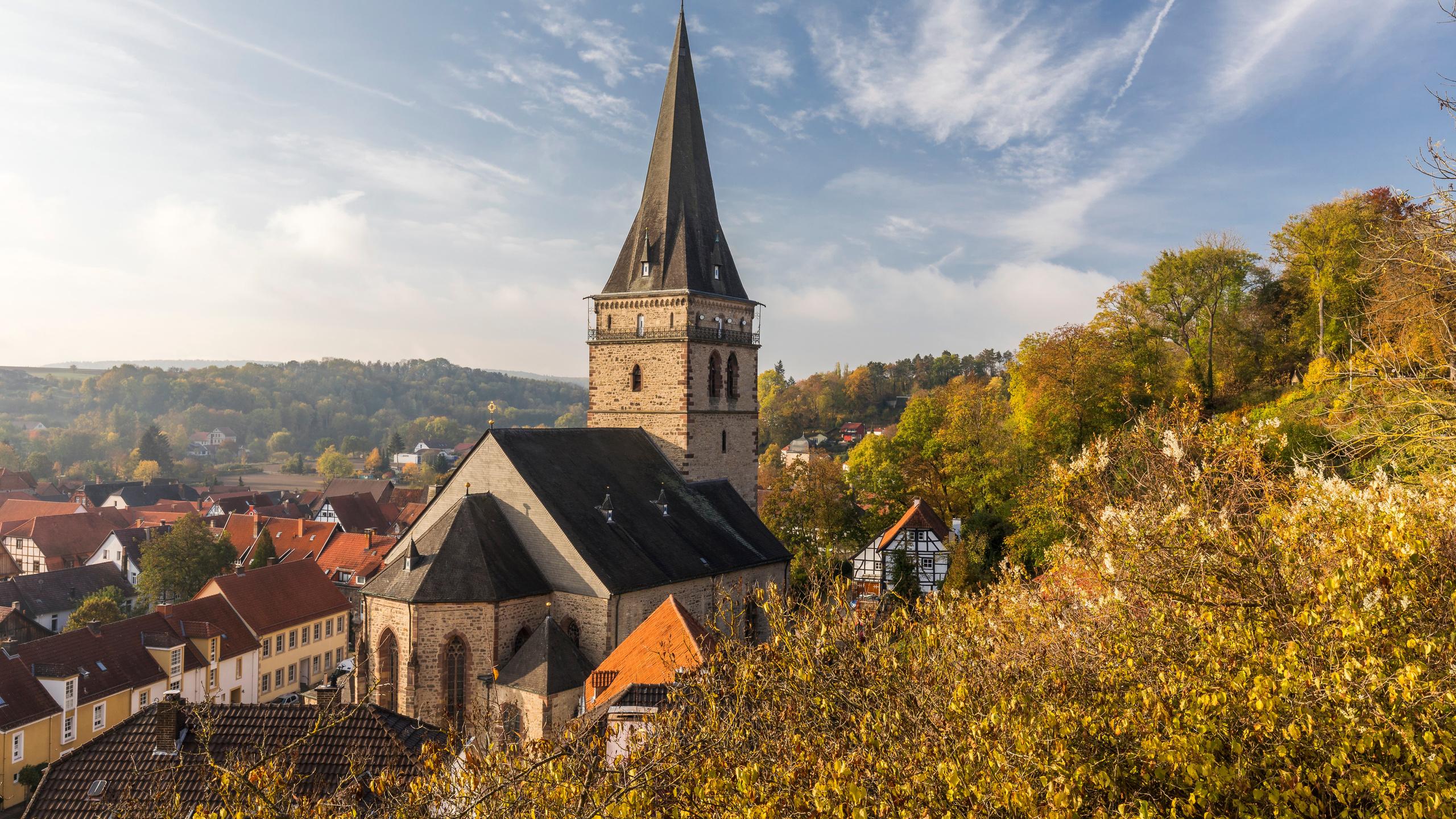 германия, осень, дома, warburg, башня, город