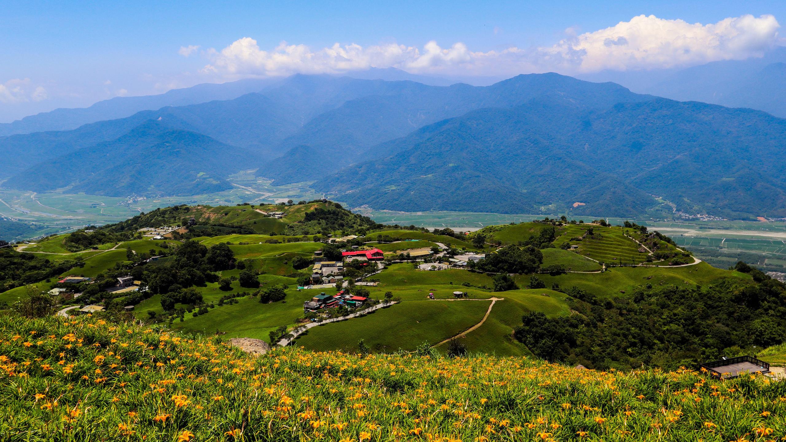 тайвань, дома, поля, луг, hualien, холмы, природа