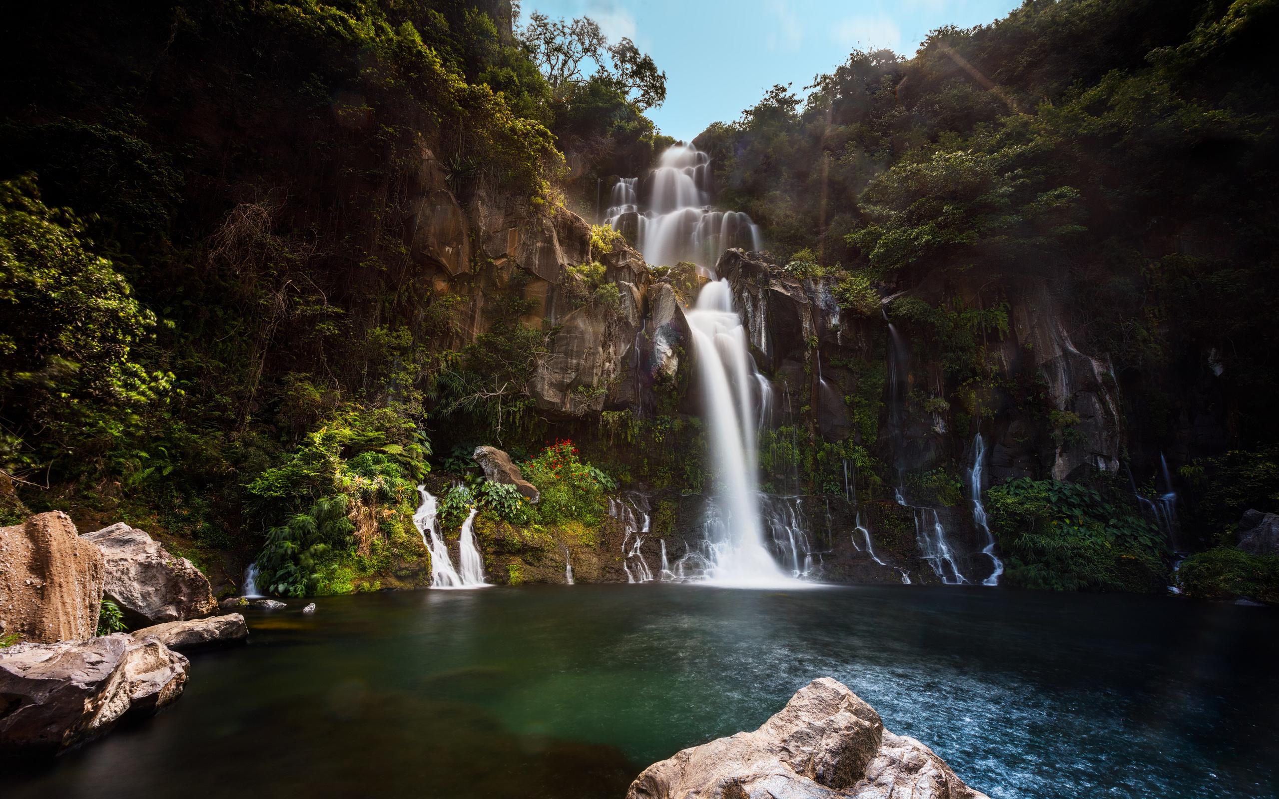 франция, водопад, bassin des, aigrettes, скала, природа