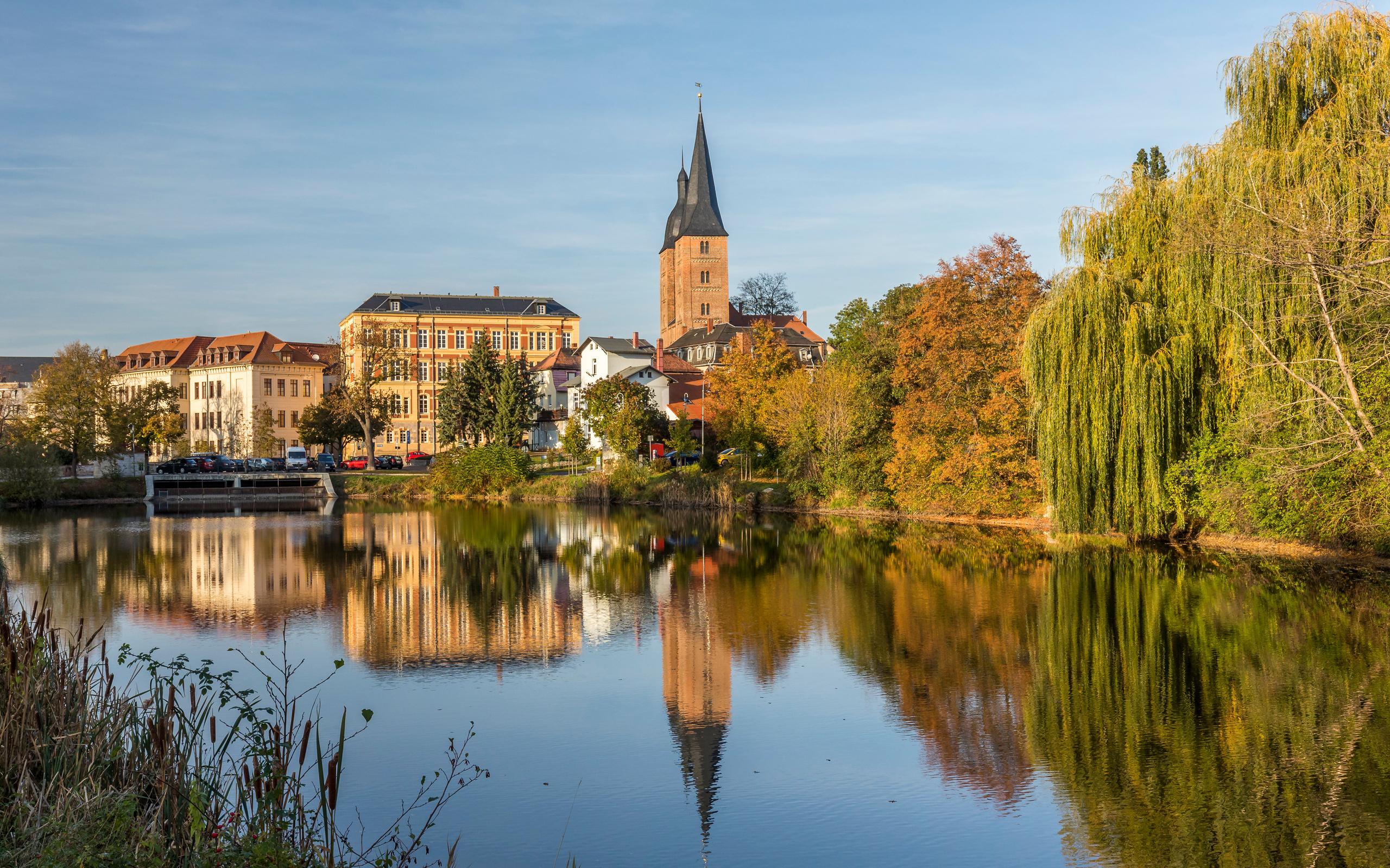 германия, дома, altenburg, отражение, город