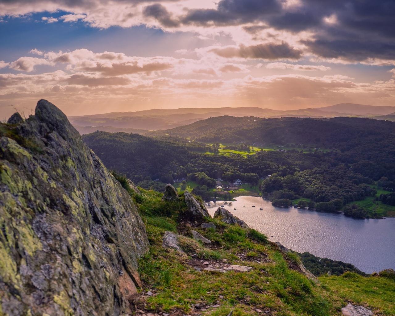 долина, скалы, холмы, озеро