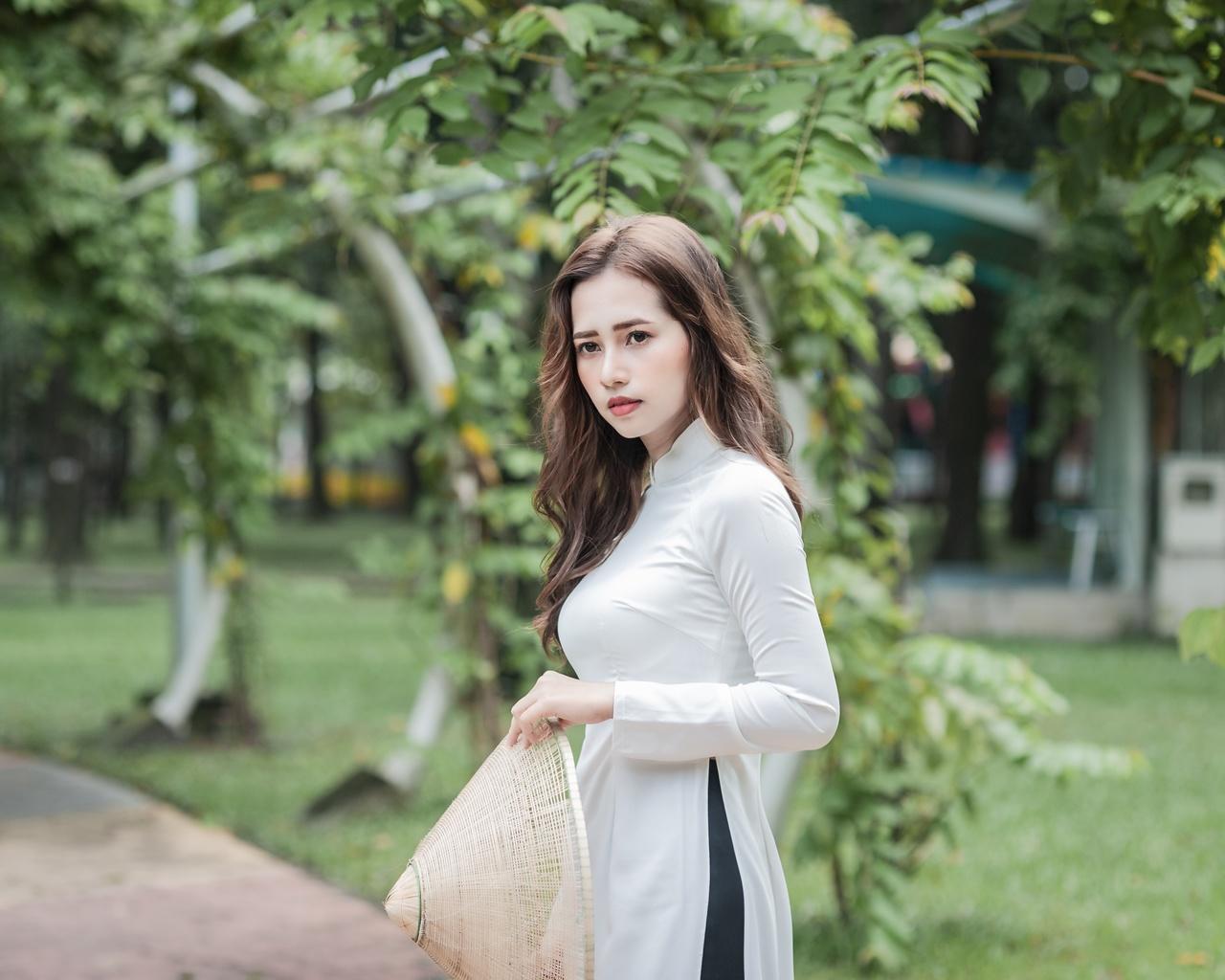 девушка, азиатка, парк, природа
