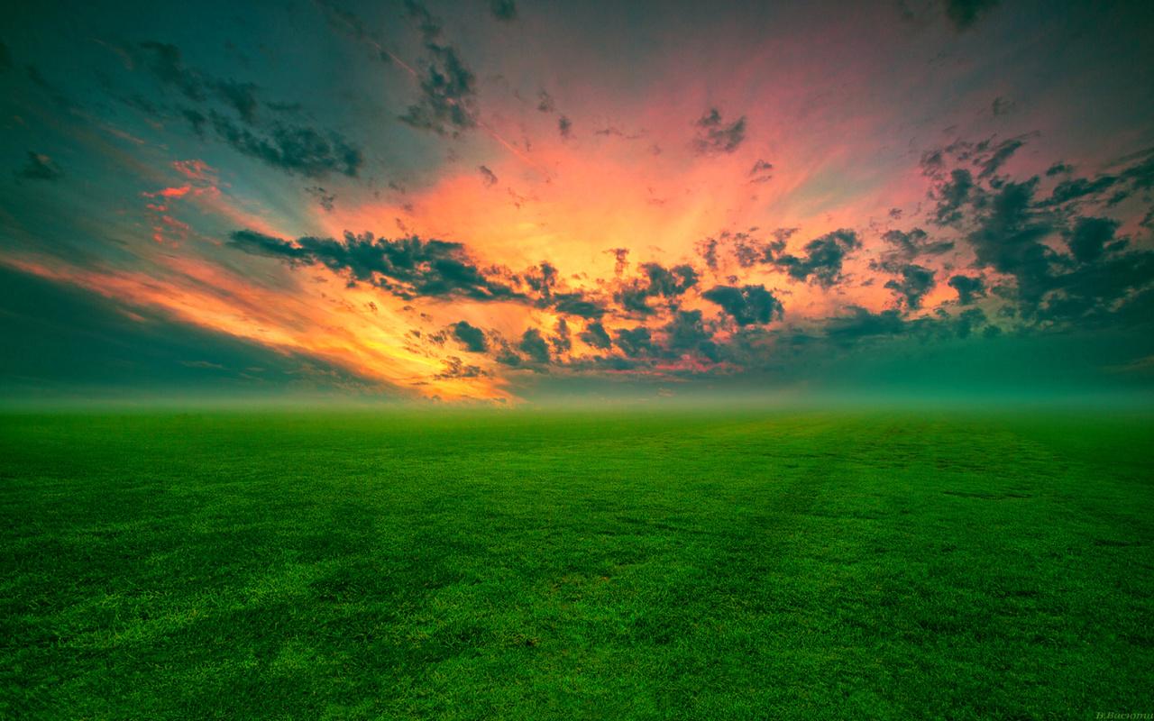 пейзаж, небо, луг