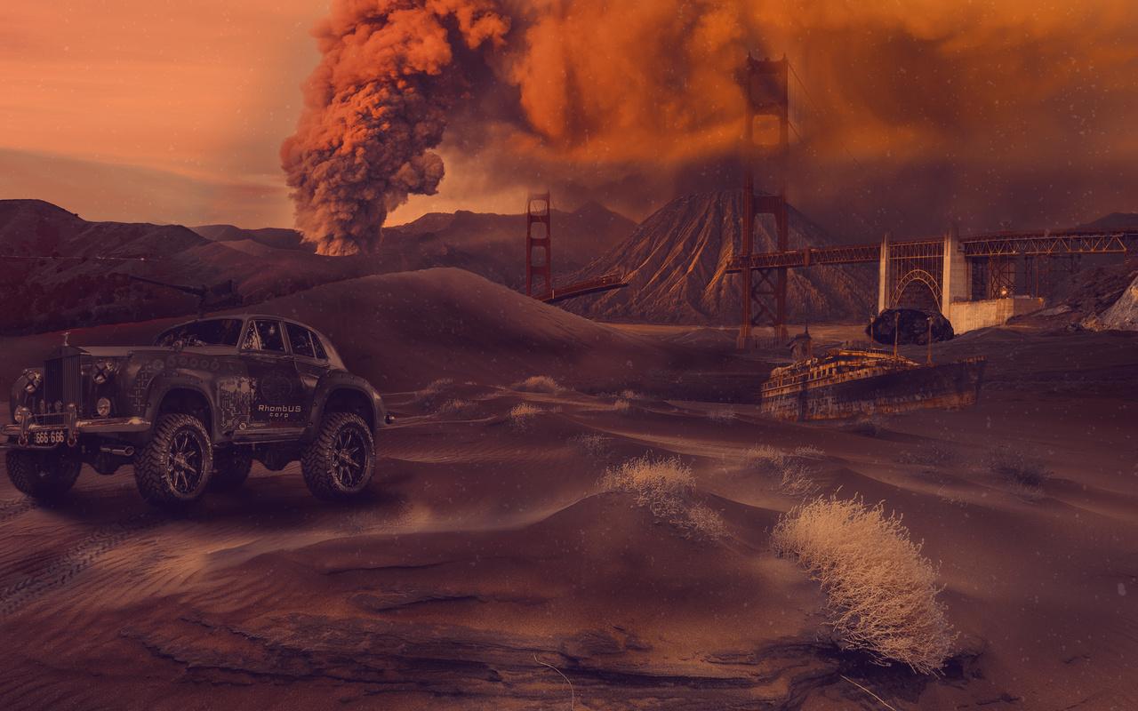 сан-франциско, мост, песок, ролс-ройс, катастрофа, вулкан