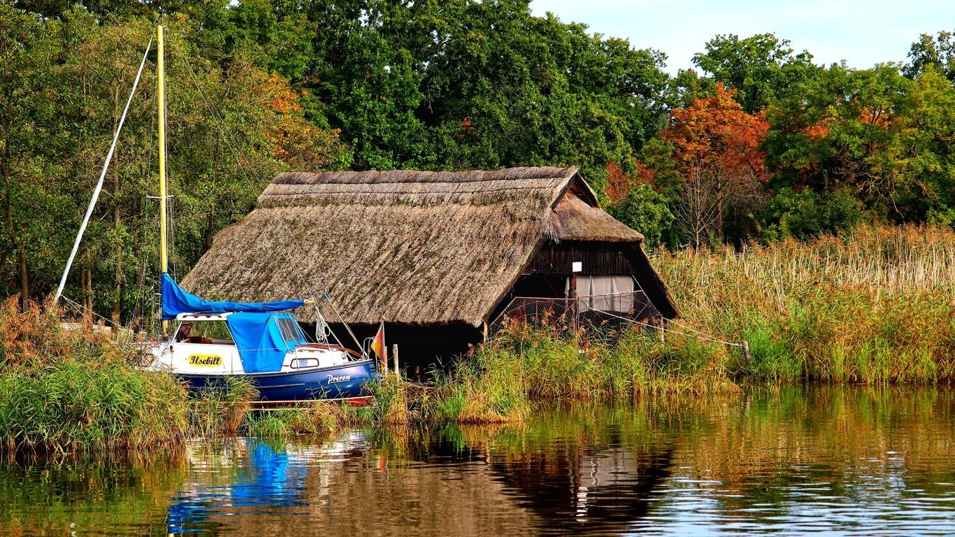дом, лодка, река, заросли, деревья