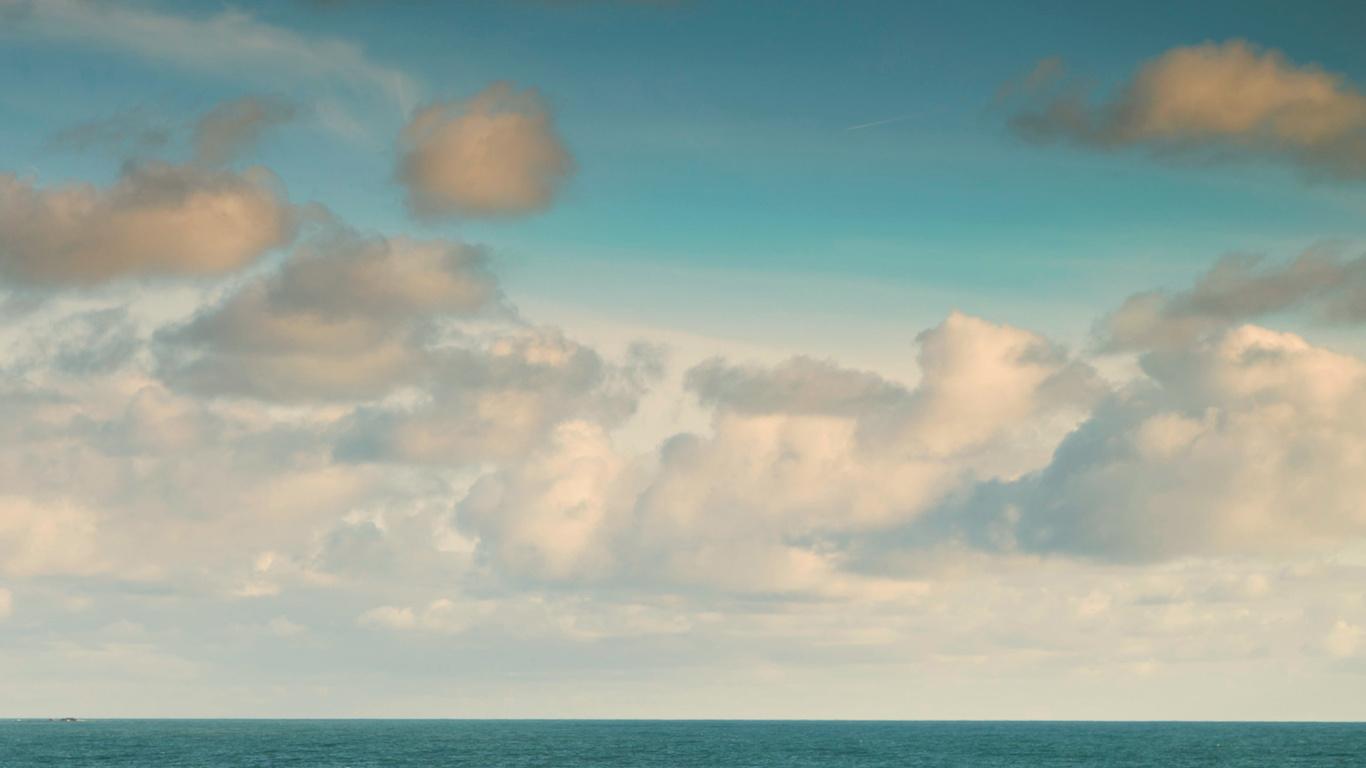 пейзаж, море, облака
