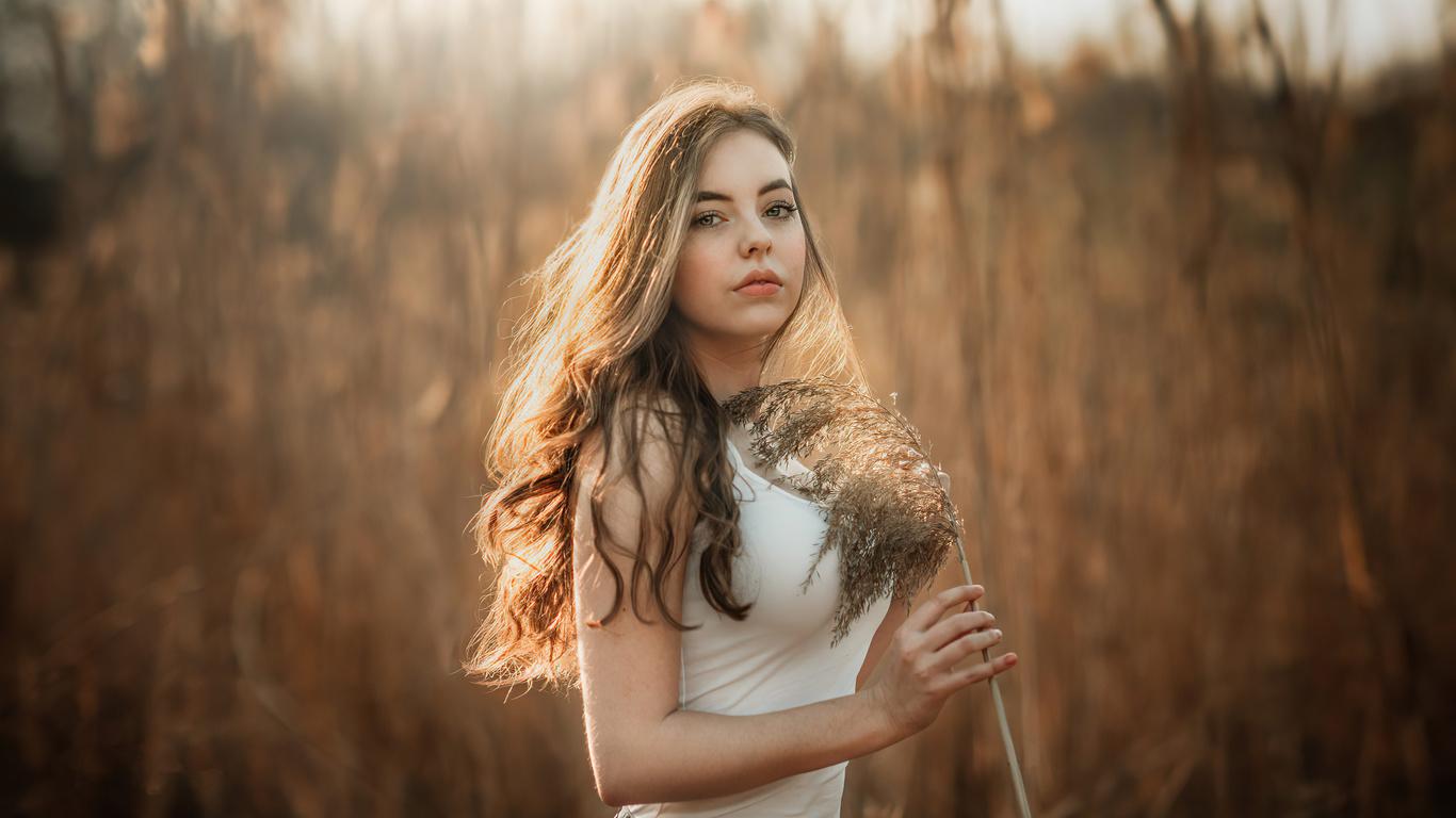 девушка, осень, трава, портрет