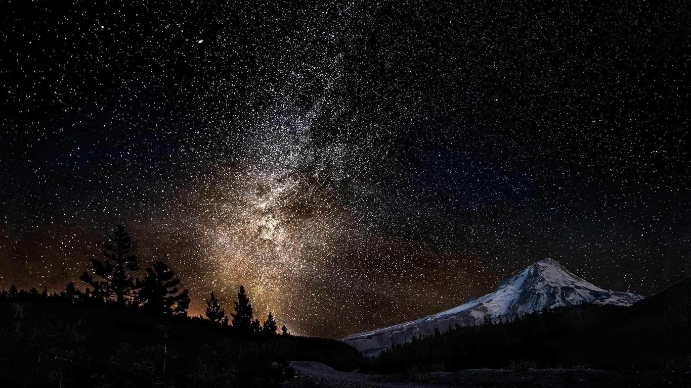 ночь, звёзды, гора