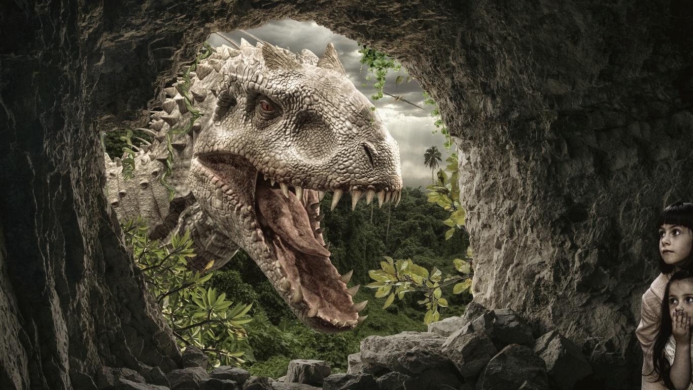 динозавр, пещера, дети