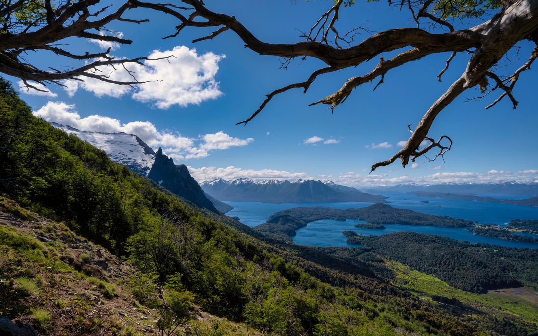 аргентина, горы, озеро, небо, пейзаж, bariloche, patagonia, ветки, природа