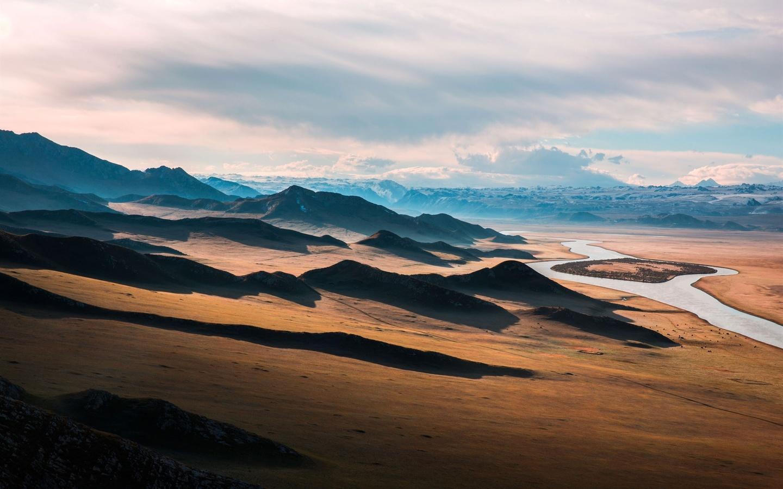 прерия, река, горы
