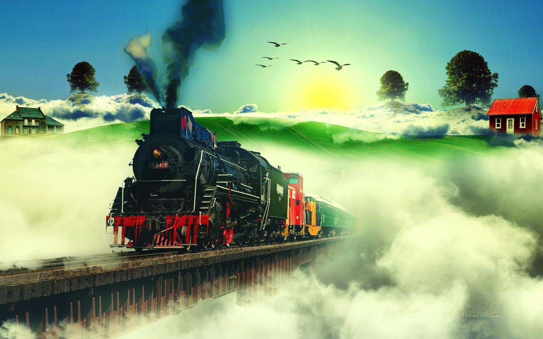паровоз, облака, небо, дома