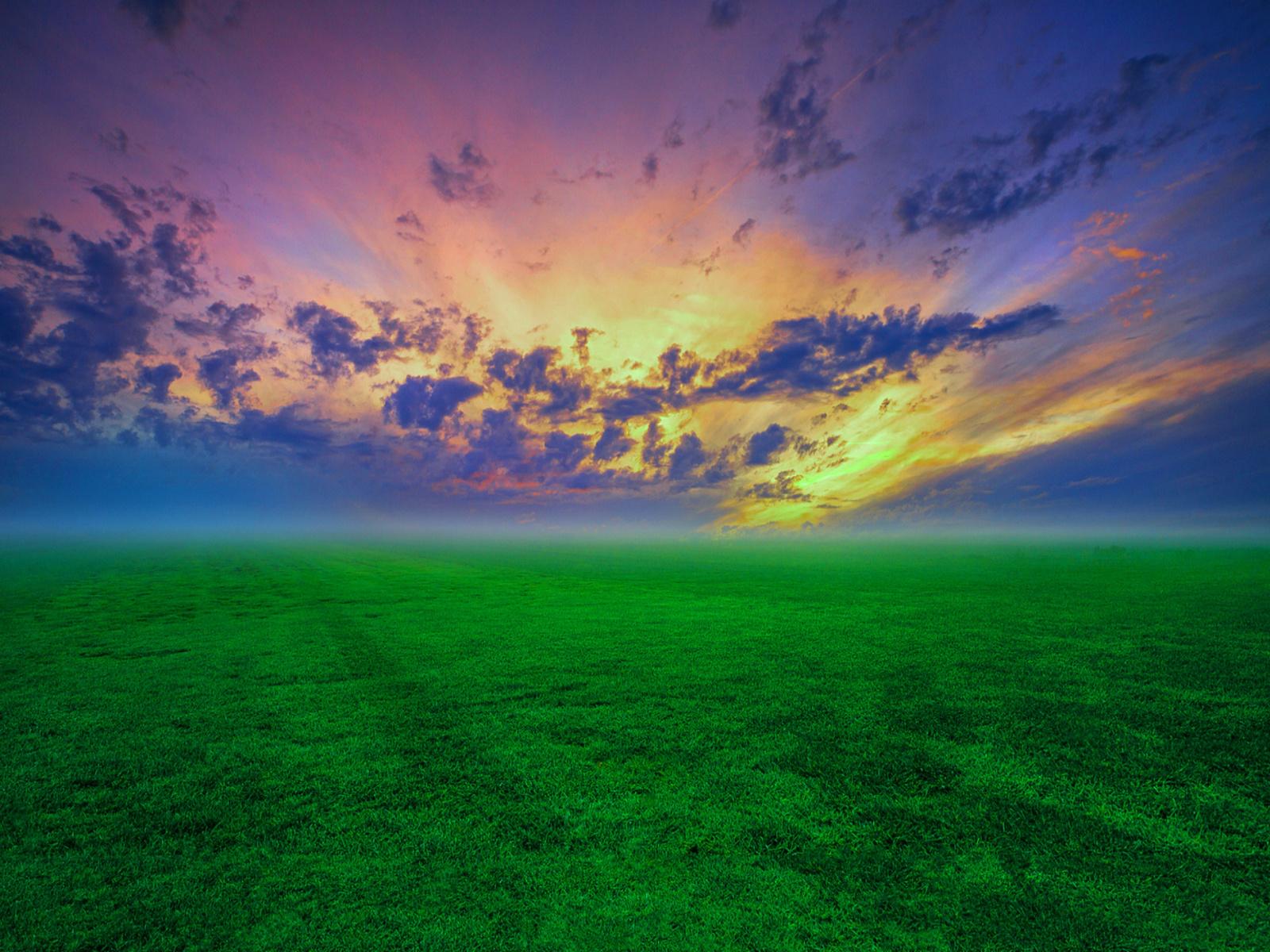 пейзаж, трава, облака