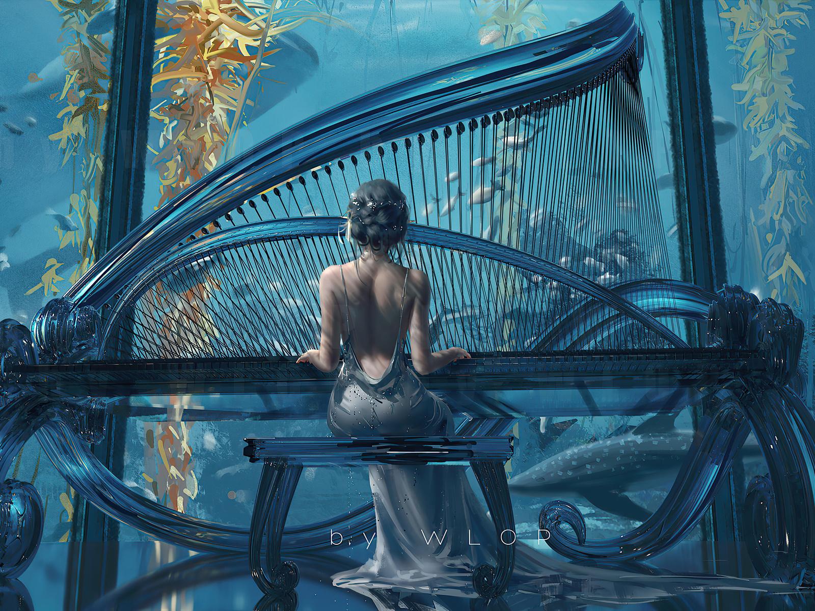 artwork, classic, piano, girl