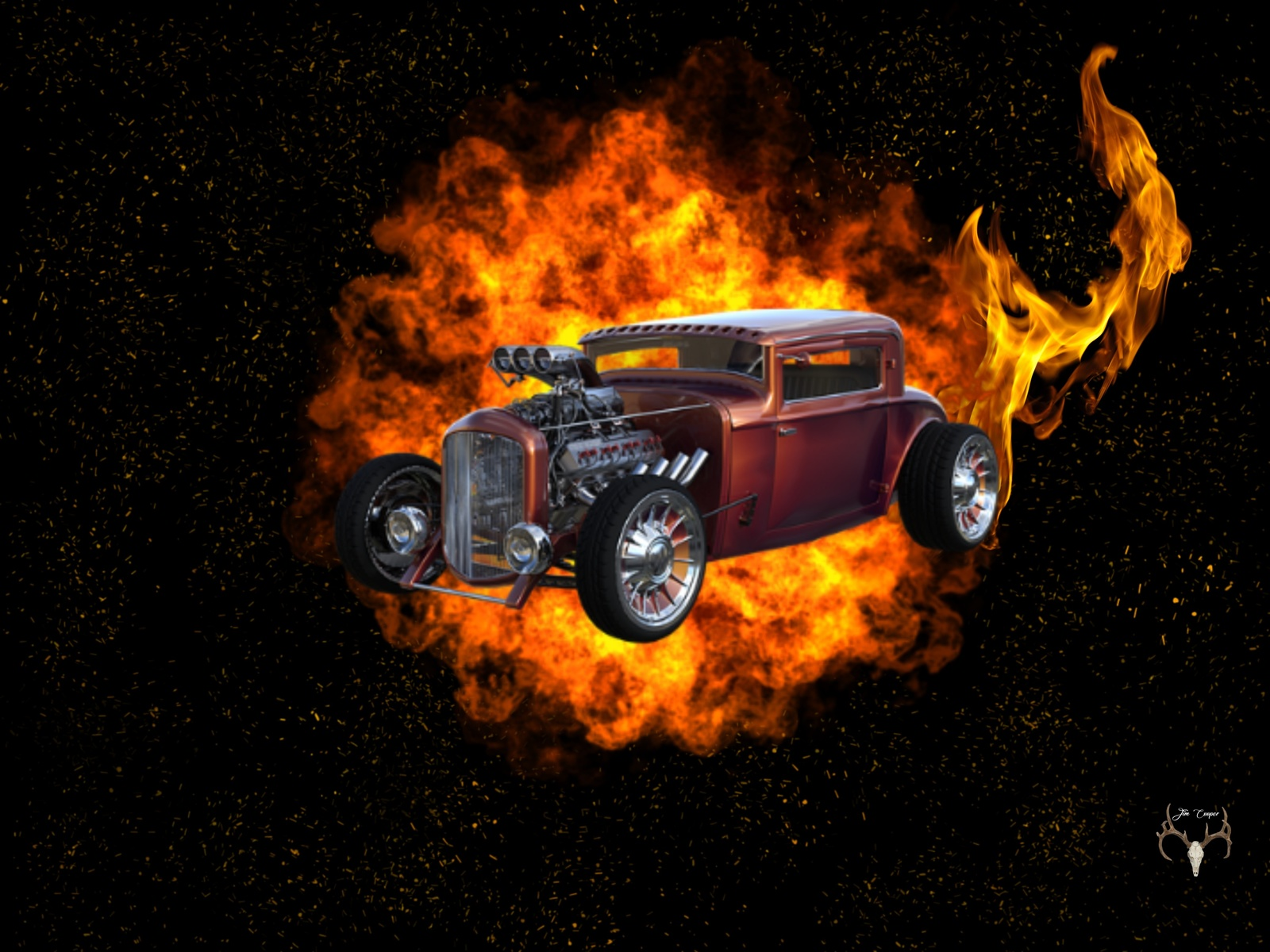 авто, ретро, пламя, фон