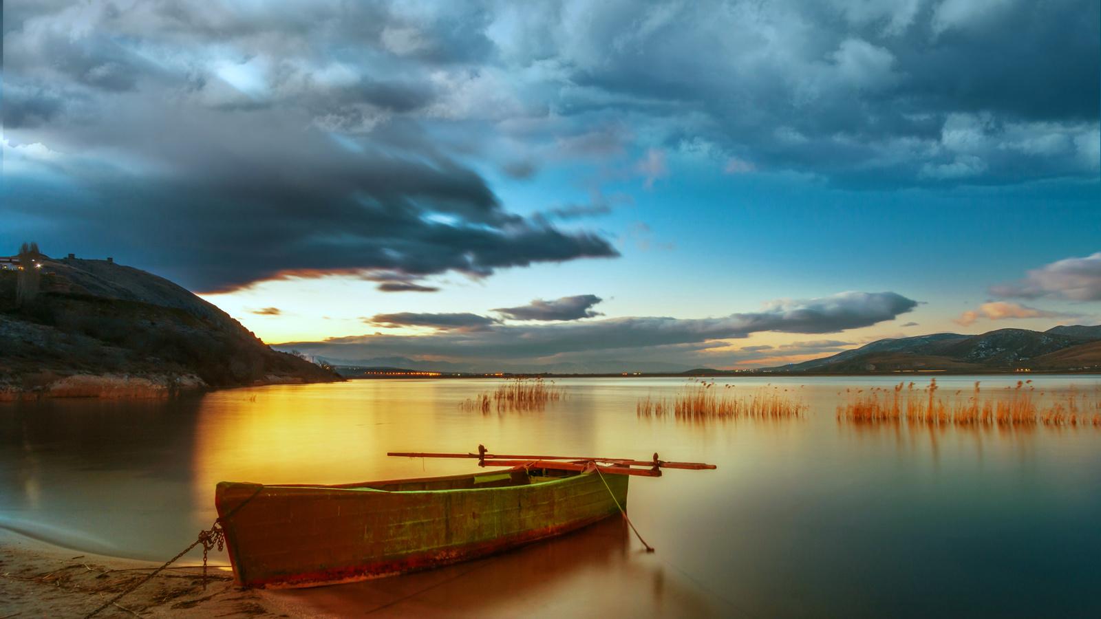 вечер, озеро, небо