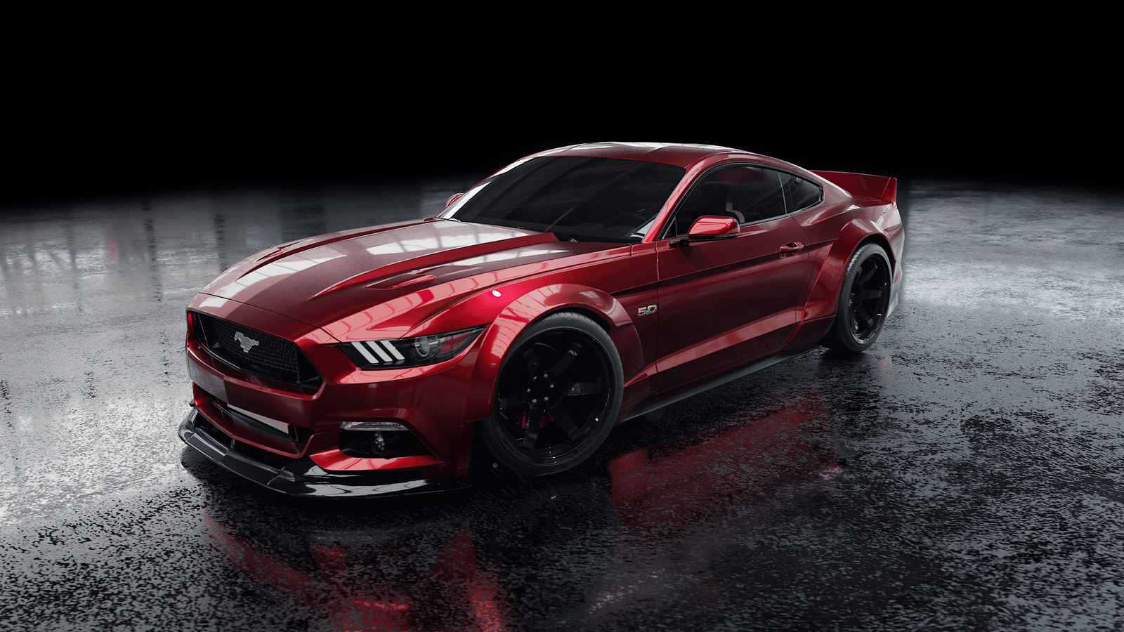 red, ford, mustang