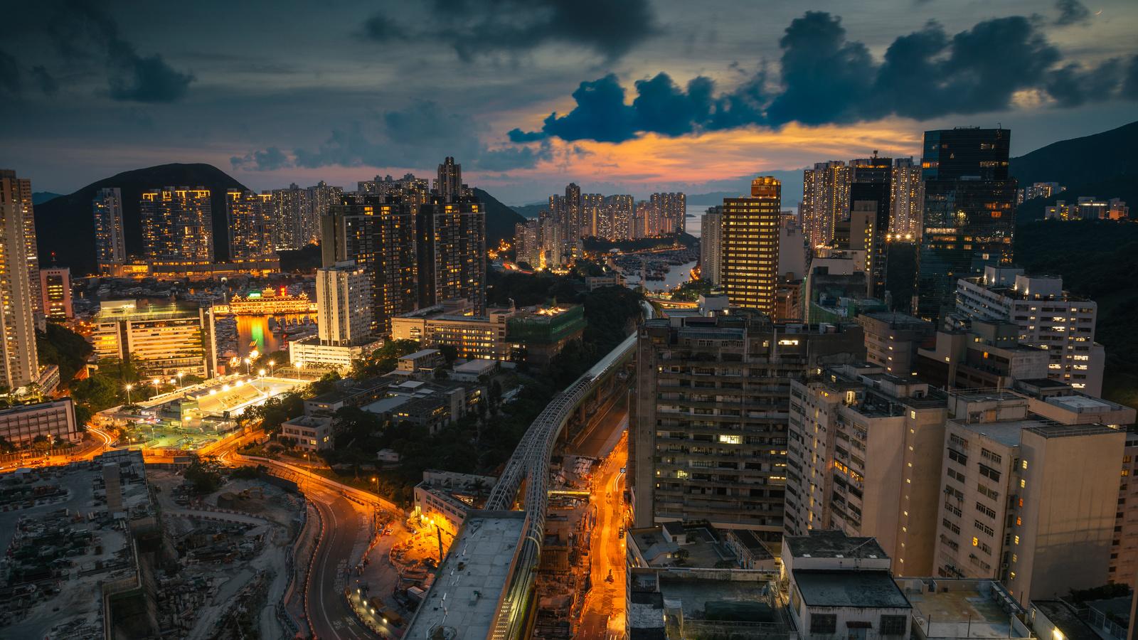город, дорога, здания, небоскребы, небо