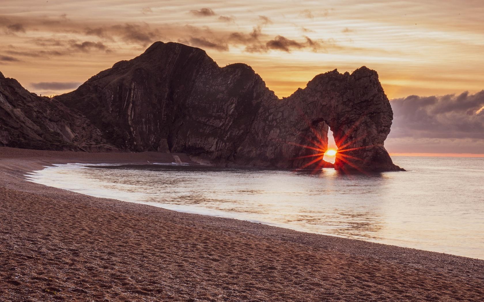 берег, закат, скала