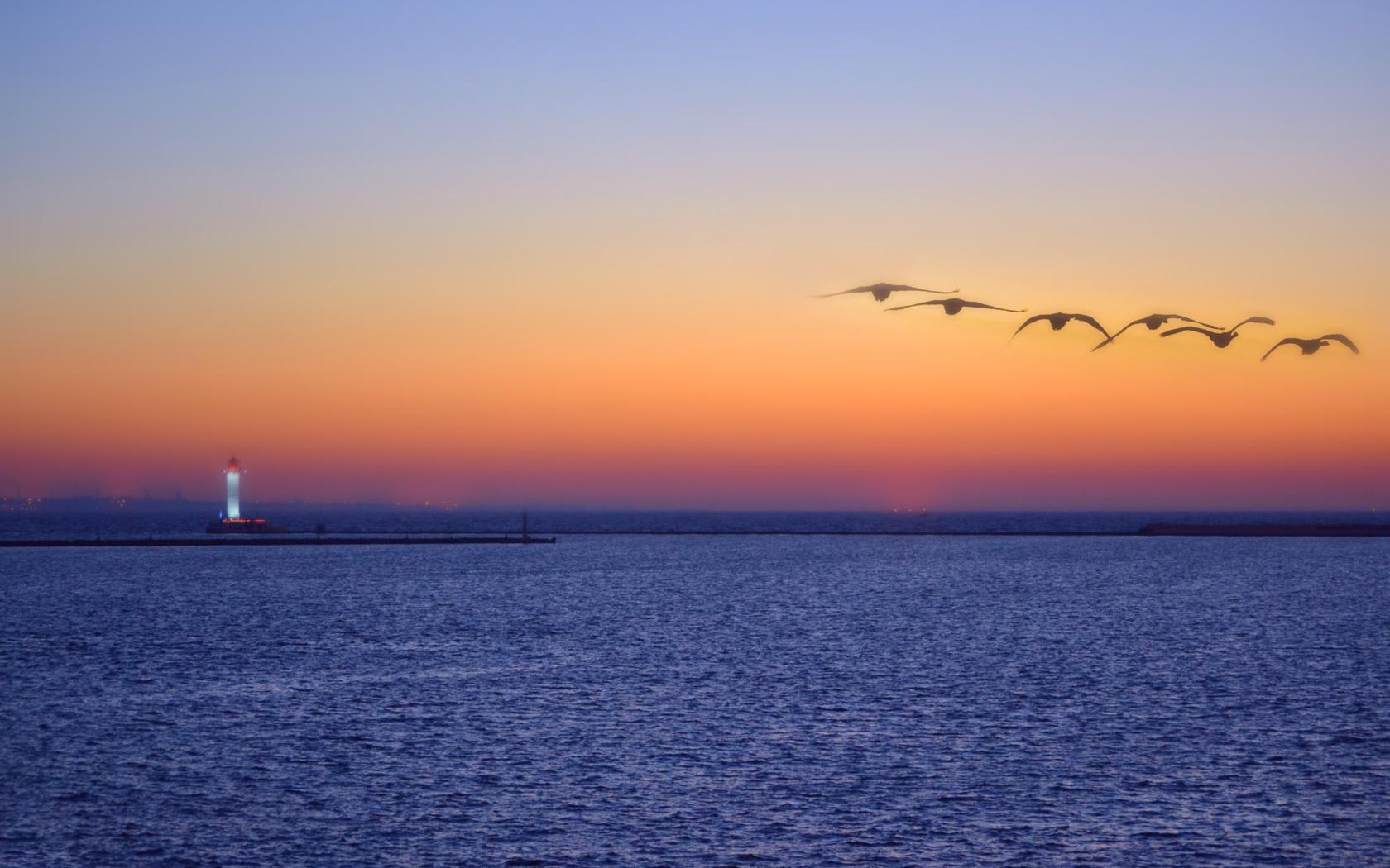 пейзаж, море, вечер