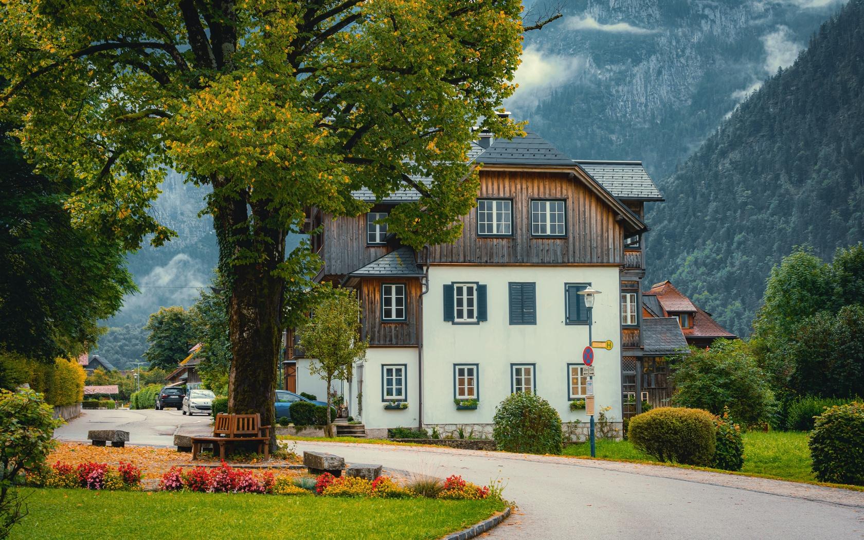 деревня, улица, дома, пейзаж