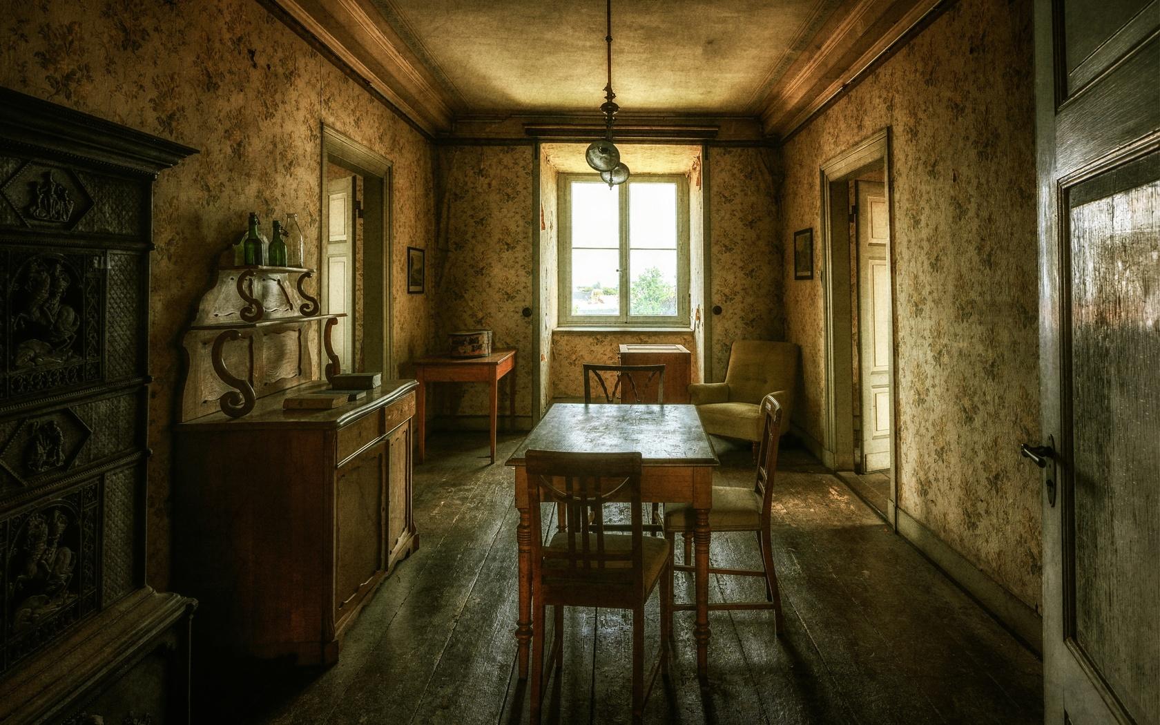 дом, комната, интерьер, ретро