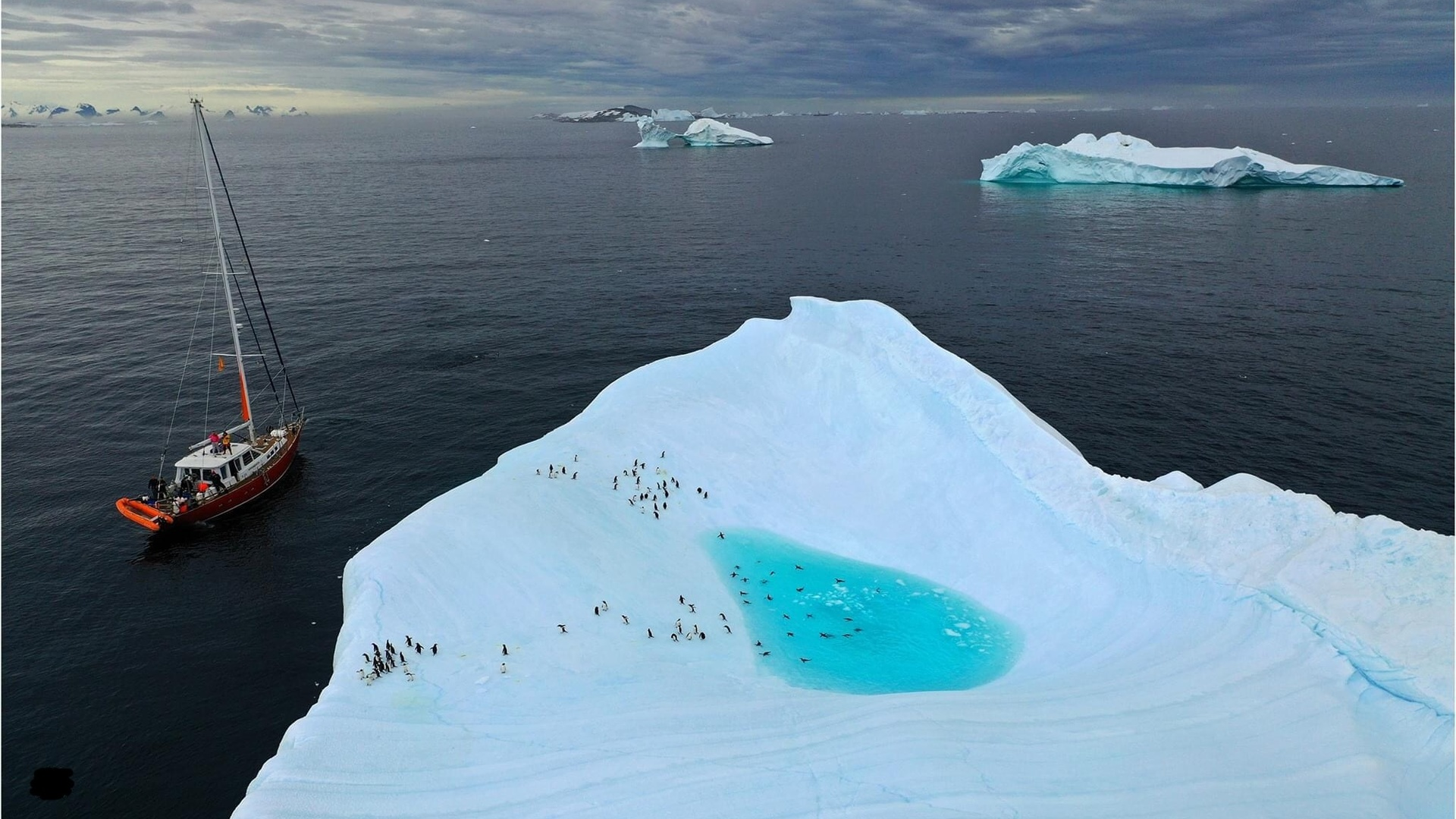 айсберг, яхта, экстрим, отдых