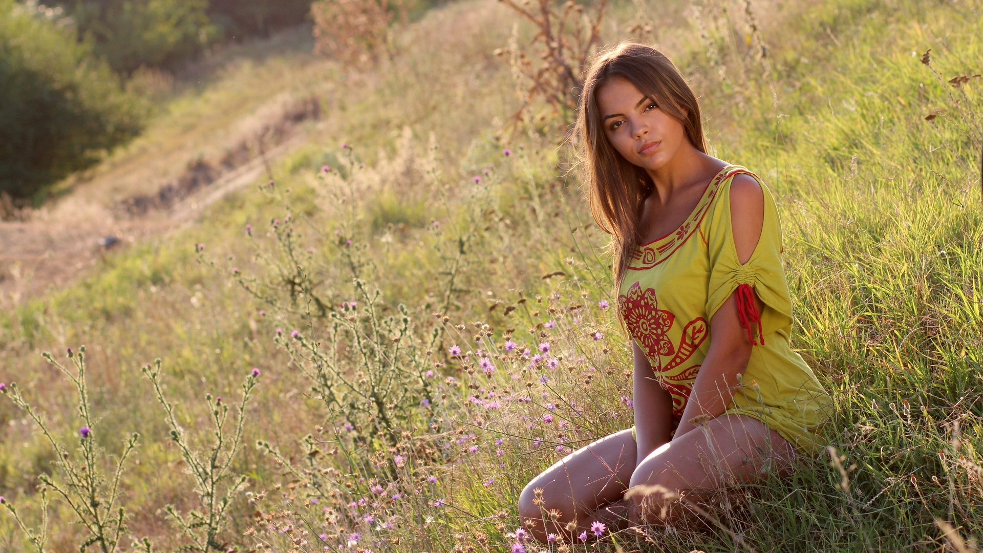 трава, девушка, природа, шатенка, туника