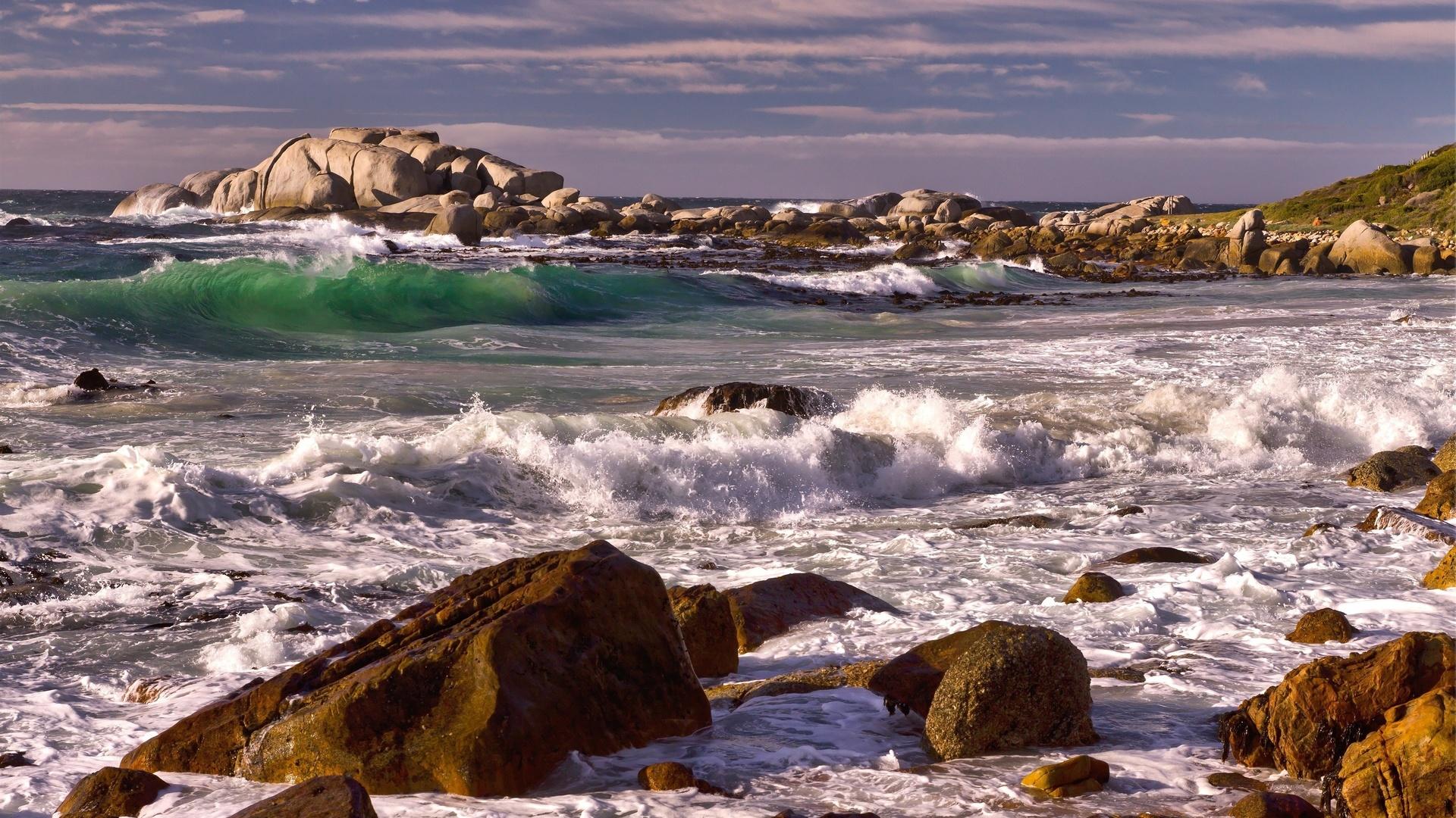скалы, камни, море, волны, пена, берег