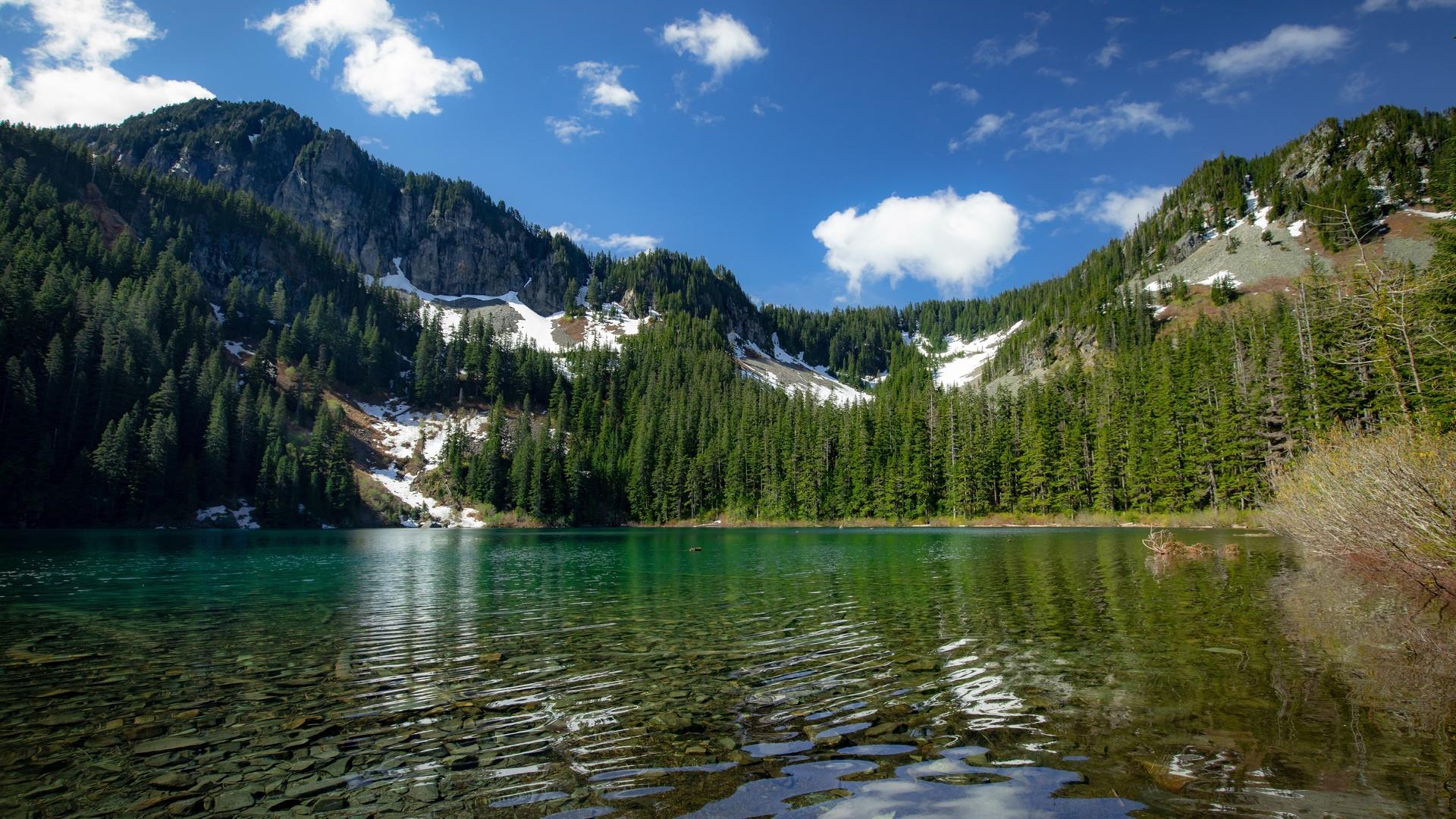 горы, лес, озеро