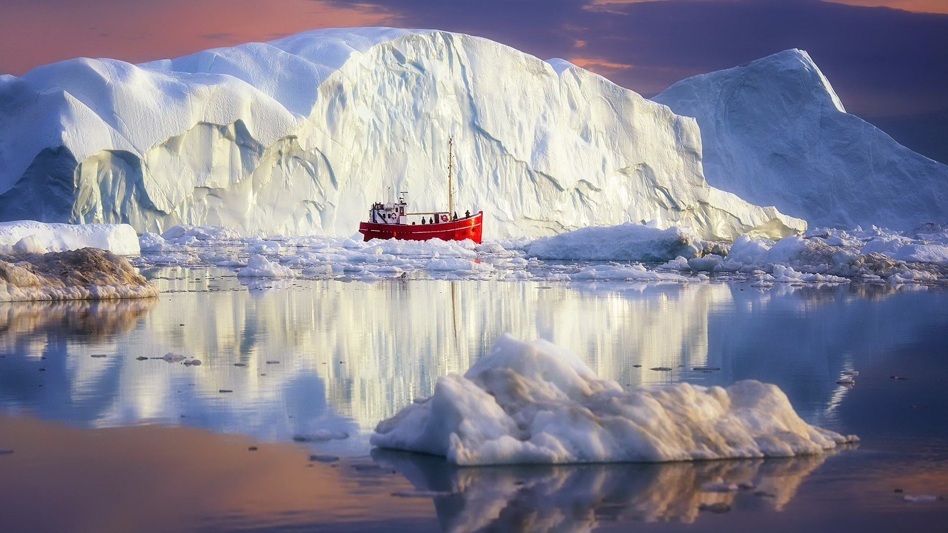 гренландия, природа, пейзаж, море, океан, льдины, кораблик