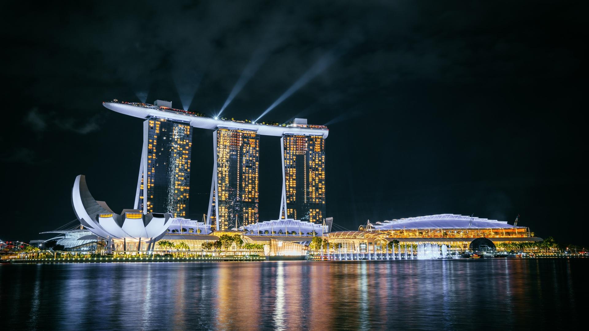 сингапур, marina bay sands, ночь
