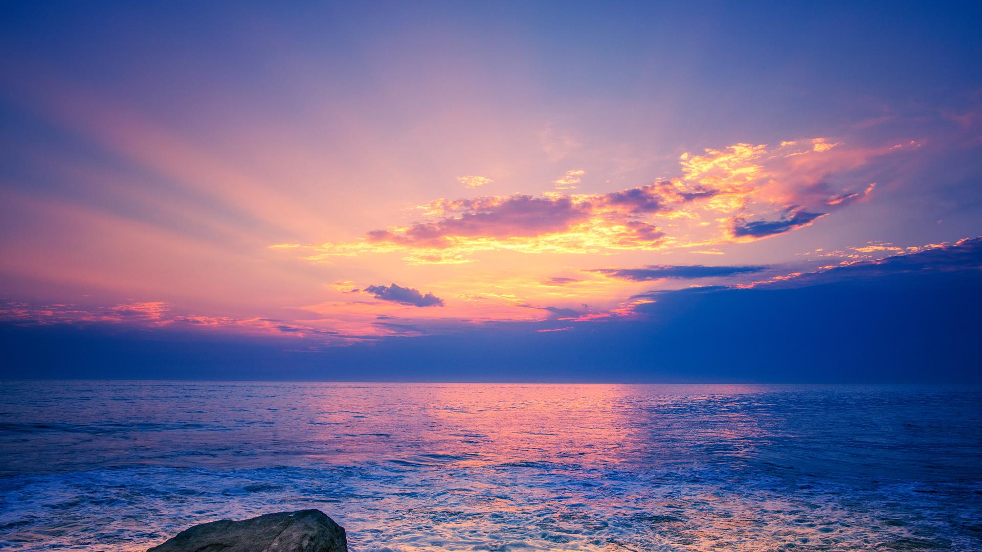 горизонт, море, небо, закат