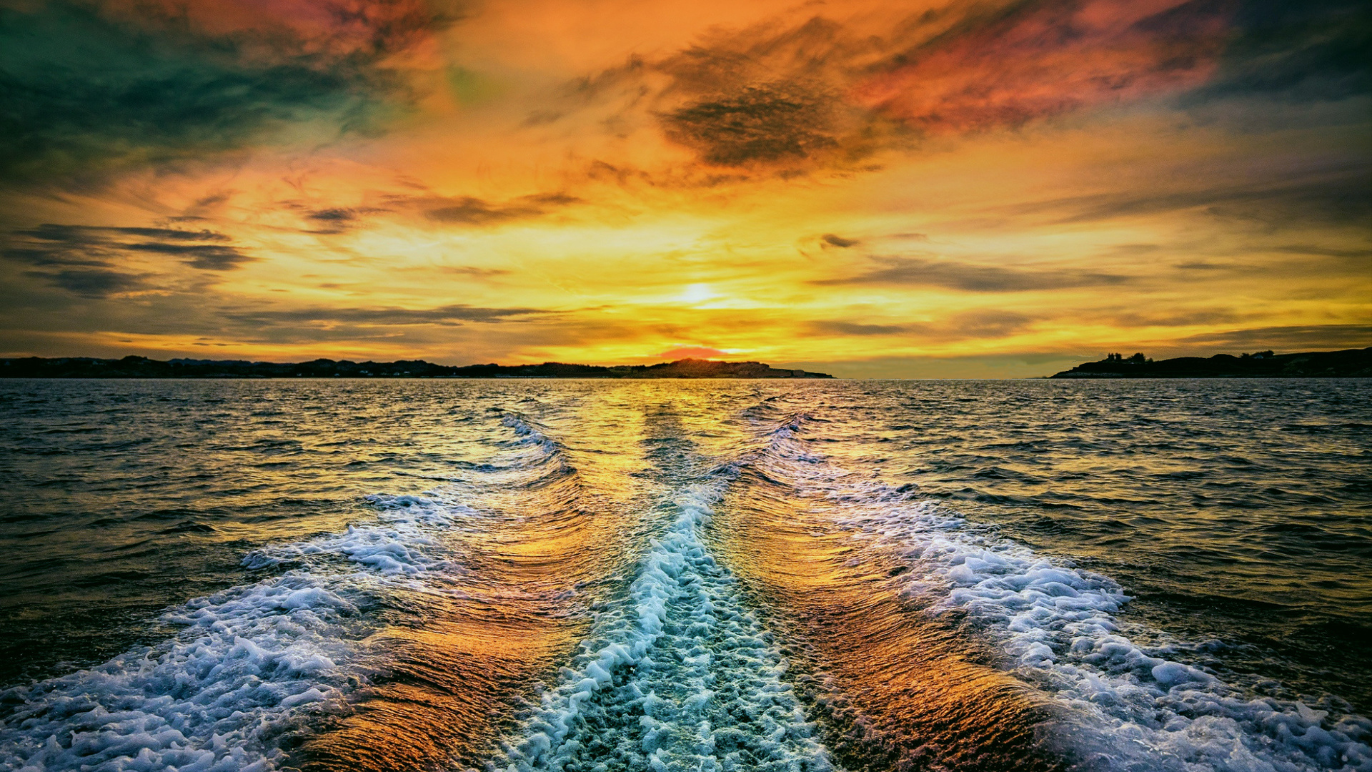 пейзаж, море, кильватерный след