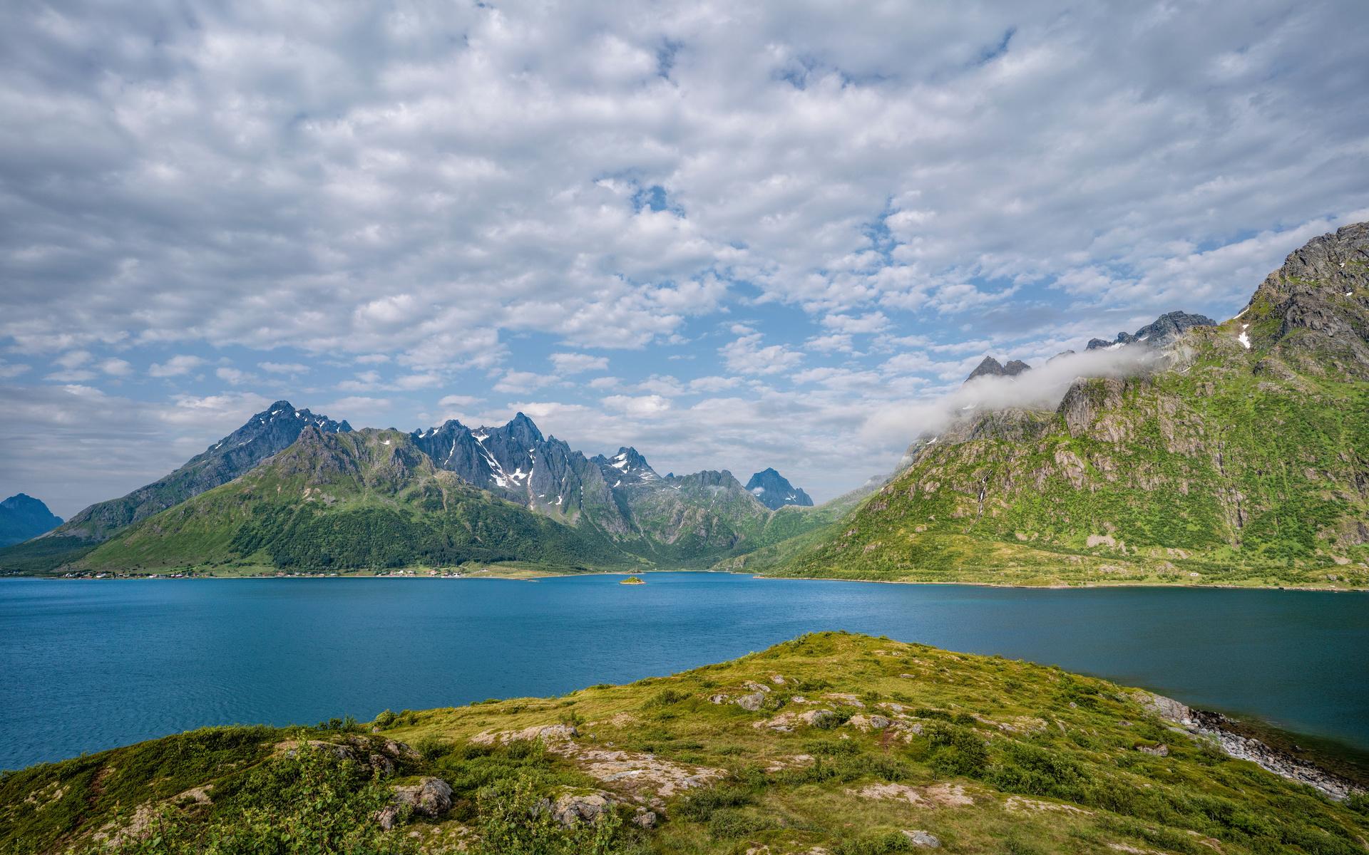 норвегия, горы, лофотенские острова, облака, природа