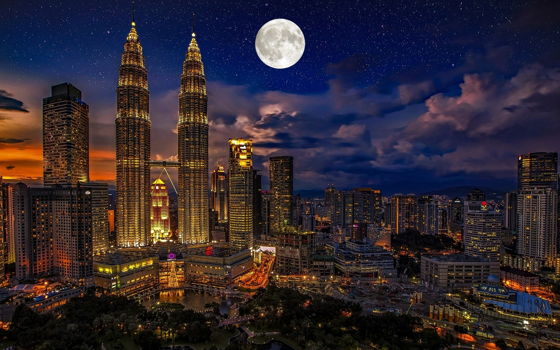 ночь, луна, город, пейзаж, куала-лумпур, малайзия