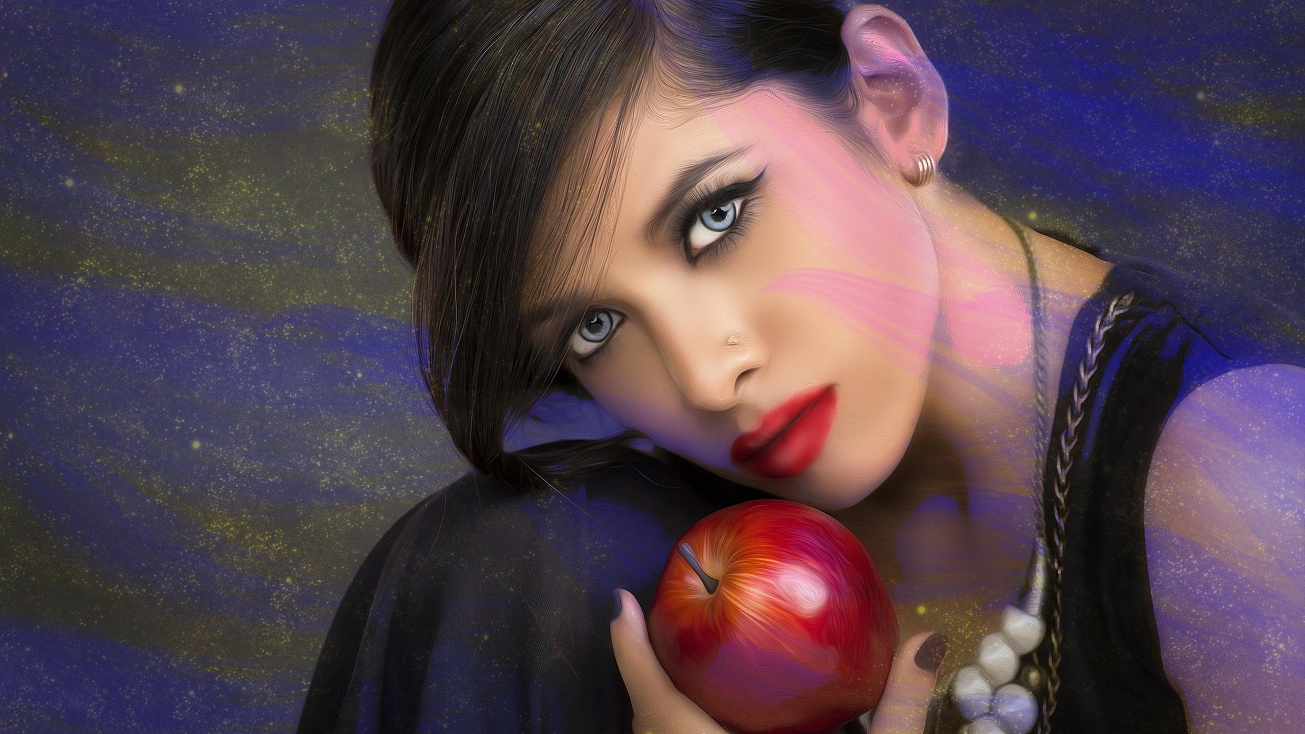 девушка, яблоко, фотопортрет