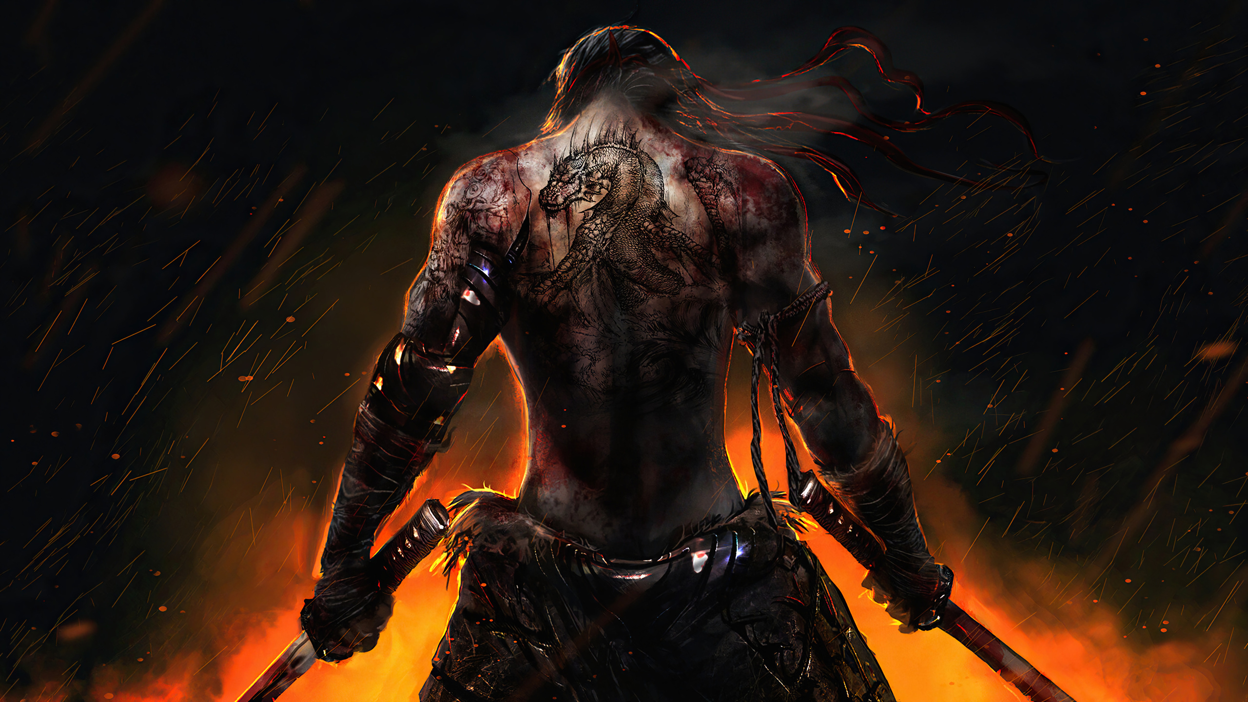 warrior, back, tattoo, katana