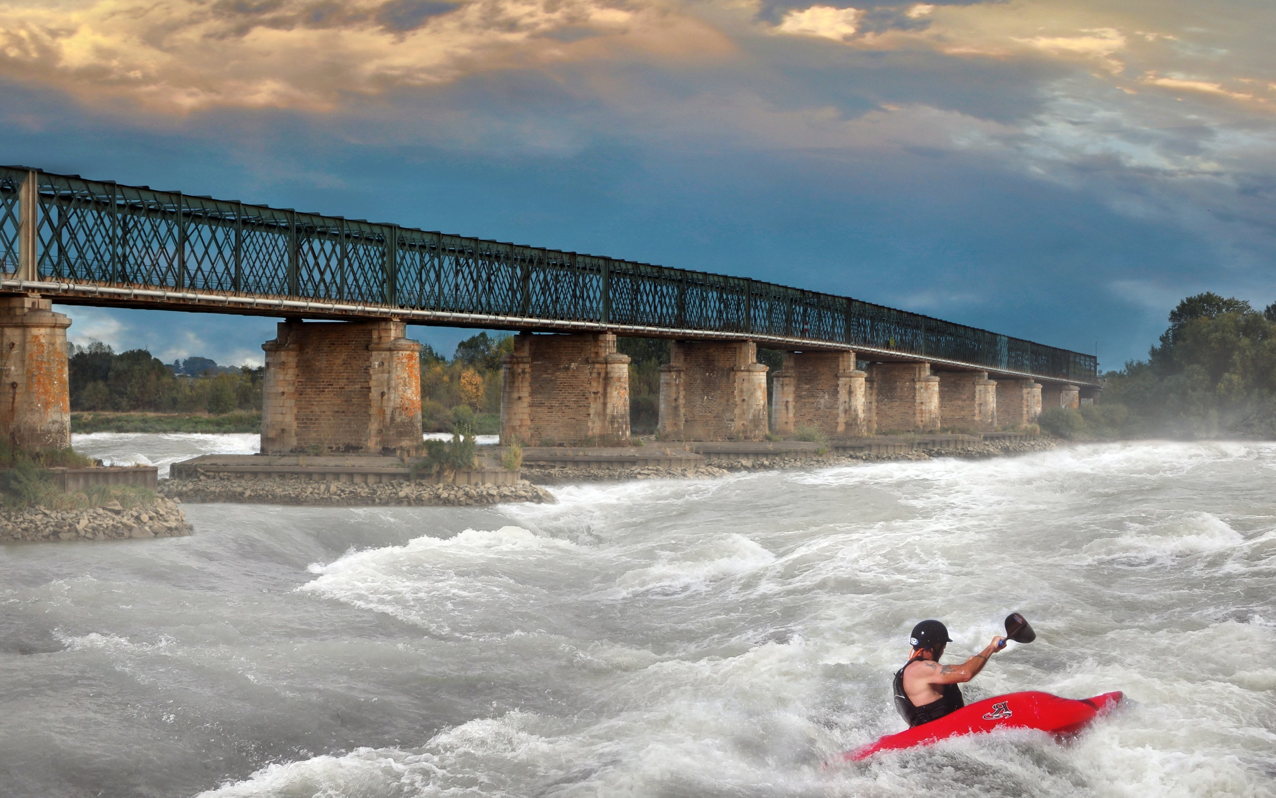 река, мост, рафтинг, речной, фотошоп