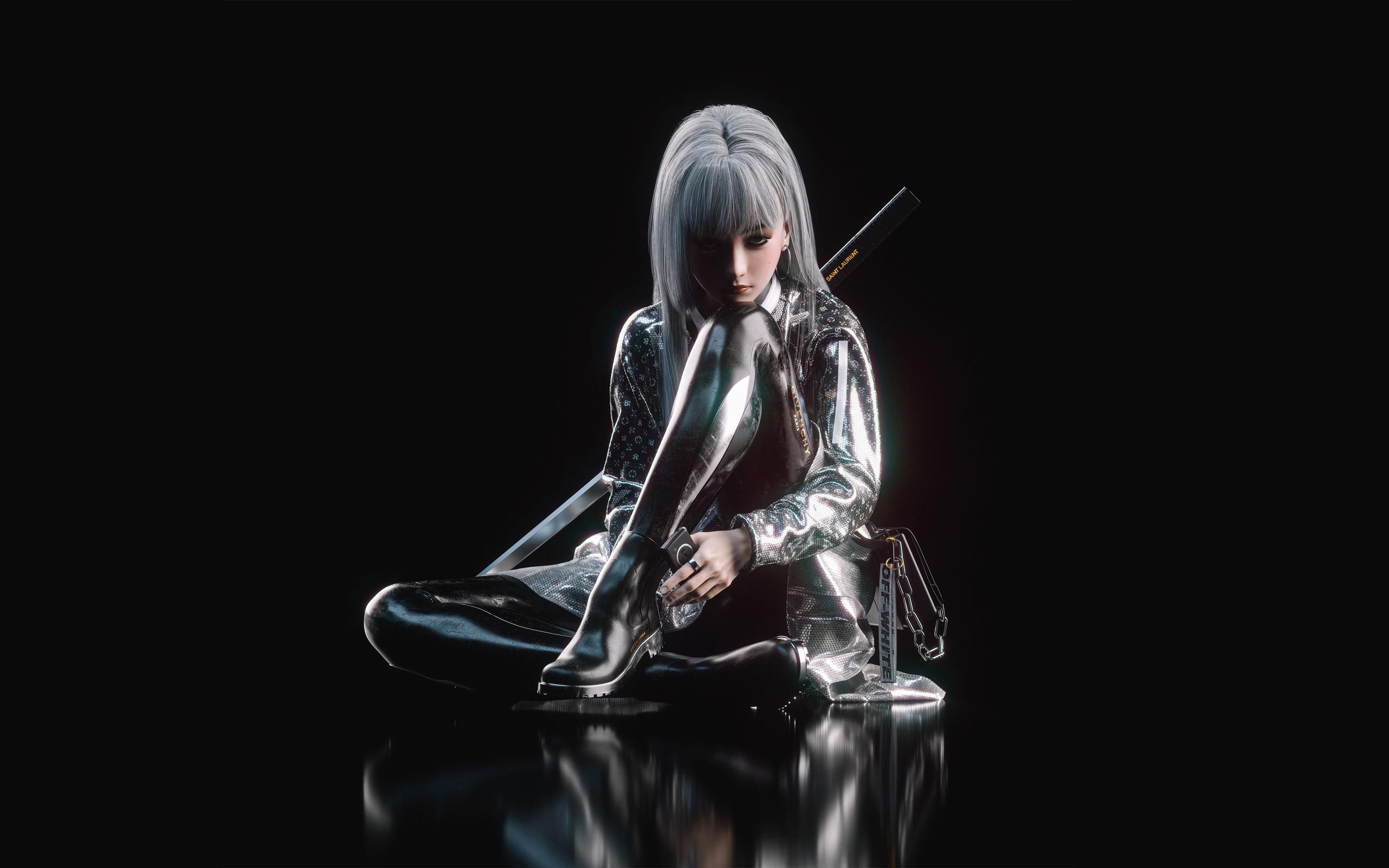 white, hair, asian, assassin, girl