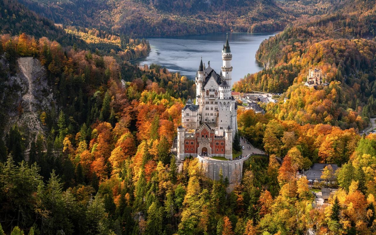 германия, осень, лес, нойшванштайн, озеро, schwansee, башня, бавария, природа