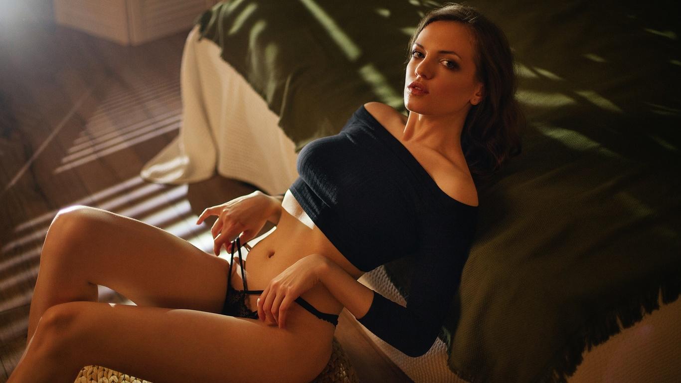 maksim chuprin, model, brunette, bed, black panties, blouse, belly, belly button, sitting, women, women indoors, short shirt, short tops, window
